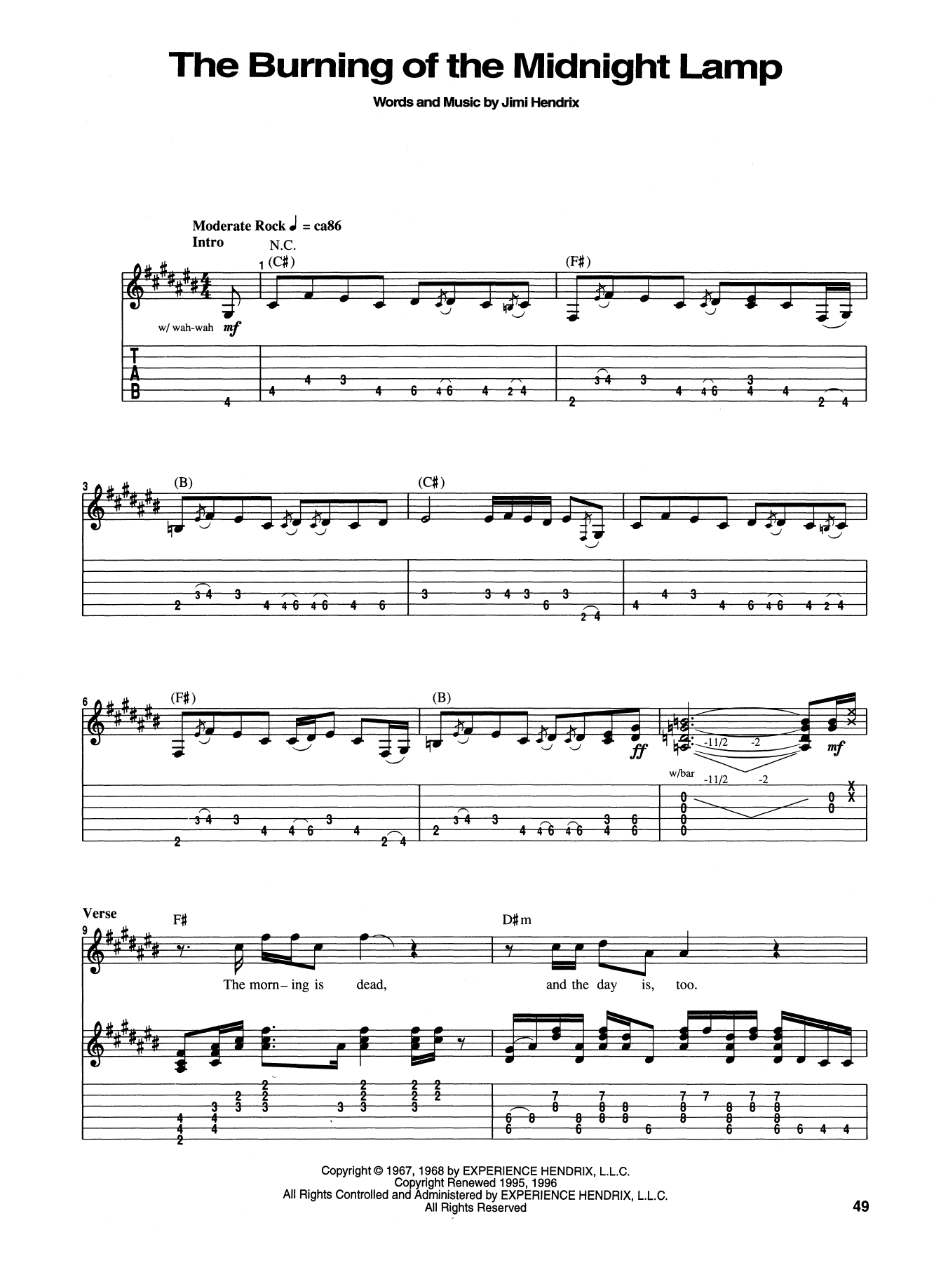 The Burning Of The Midnight Lamp Guitar Tab by Jimi Hendrix ...