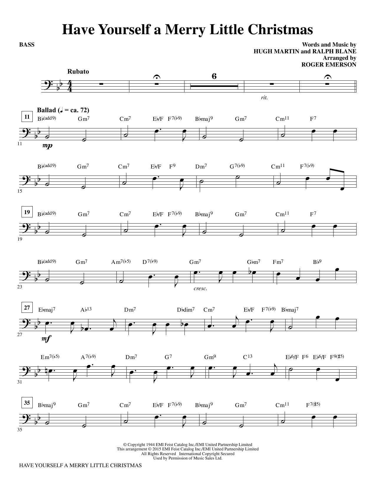 Have Yourself A Merry Little Christmas Lead Sheet.Have Yourself A Merry Little Christmas Bass By Roger Emerson Choir Instrumental Pak Digital Sheet Music
