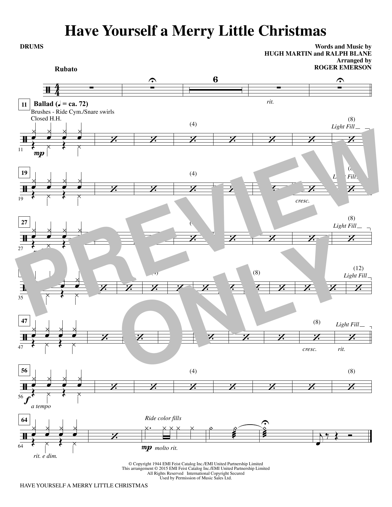 Have Yourself a Merry Little Christmas - Drums Sheet Music