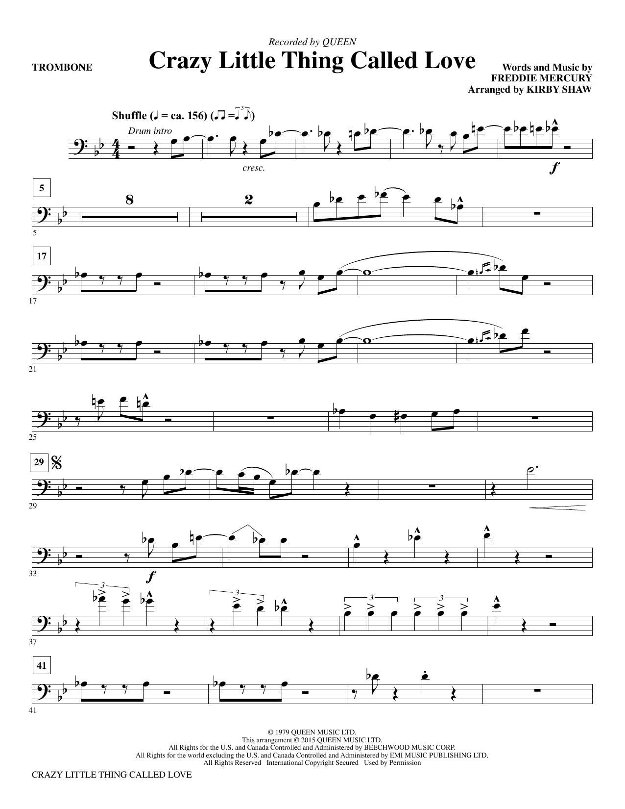 Crazy Little Thing Called Love (arr. Kirby Shaw) - Trombone (Choir Instrumental Pak)