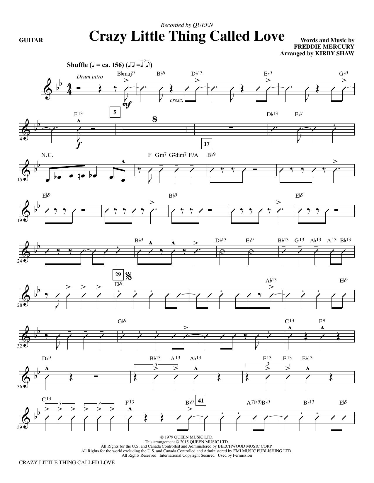 Crazy Little Thing Called Love Guitar Sheet Music Kirby Shaw