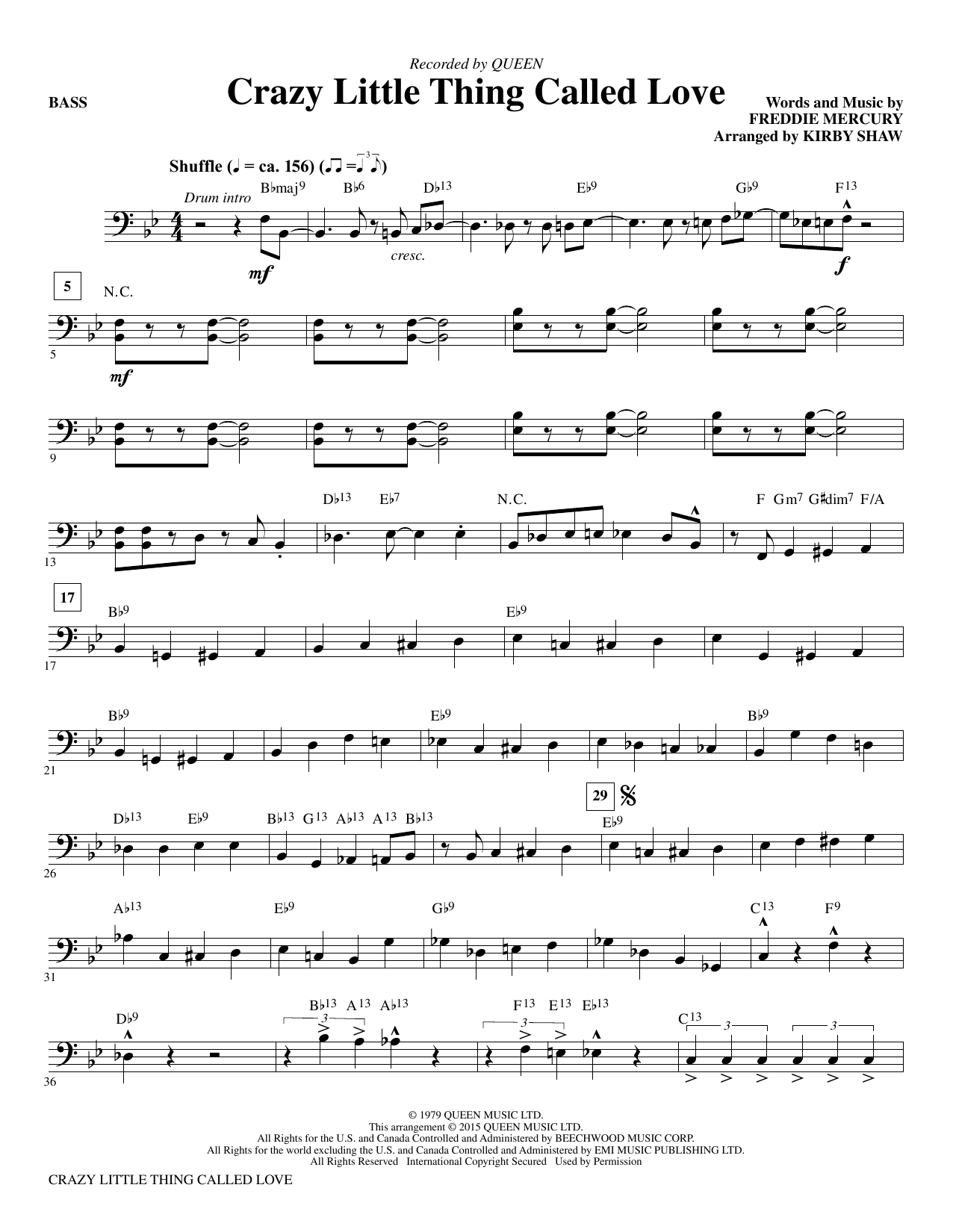 Crazy Little Thing Called Love (arr. Kirby Shaw) - Bass (Choir Instrumental Pak)