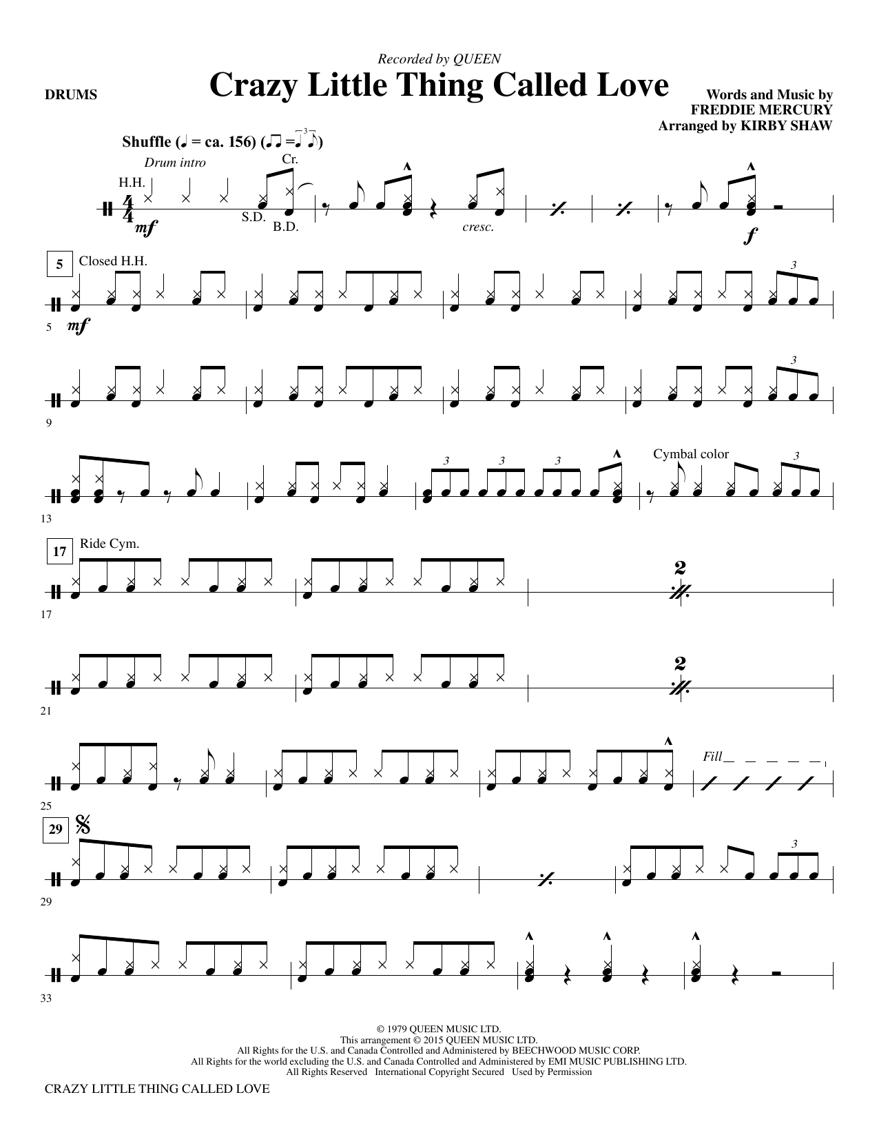 Crazy Little Thing Called Love (arr. Kirby Shaw) - Drums (Choir Instrumental Pak)