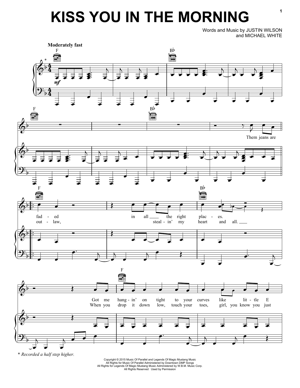Kiss You In The Morning Sheet Music