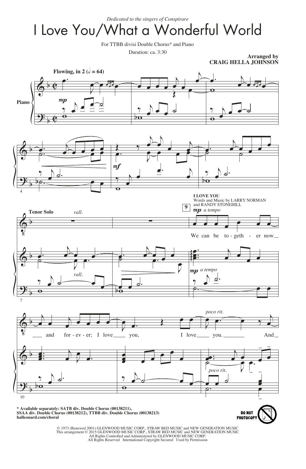 I Love You / What A Wonderful World (arr. Craig Hella Johnson) Sheet Music