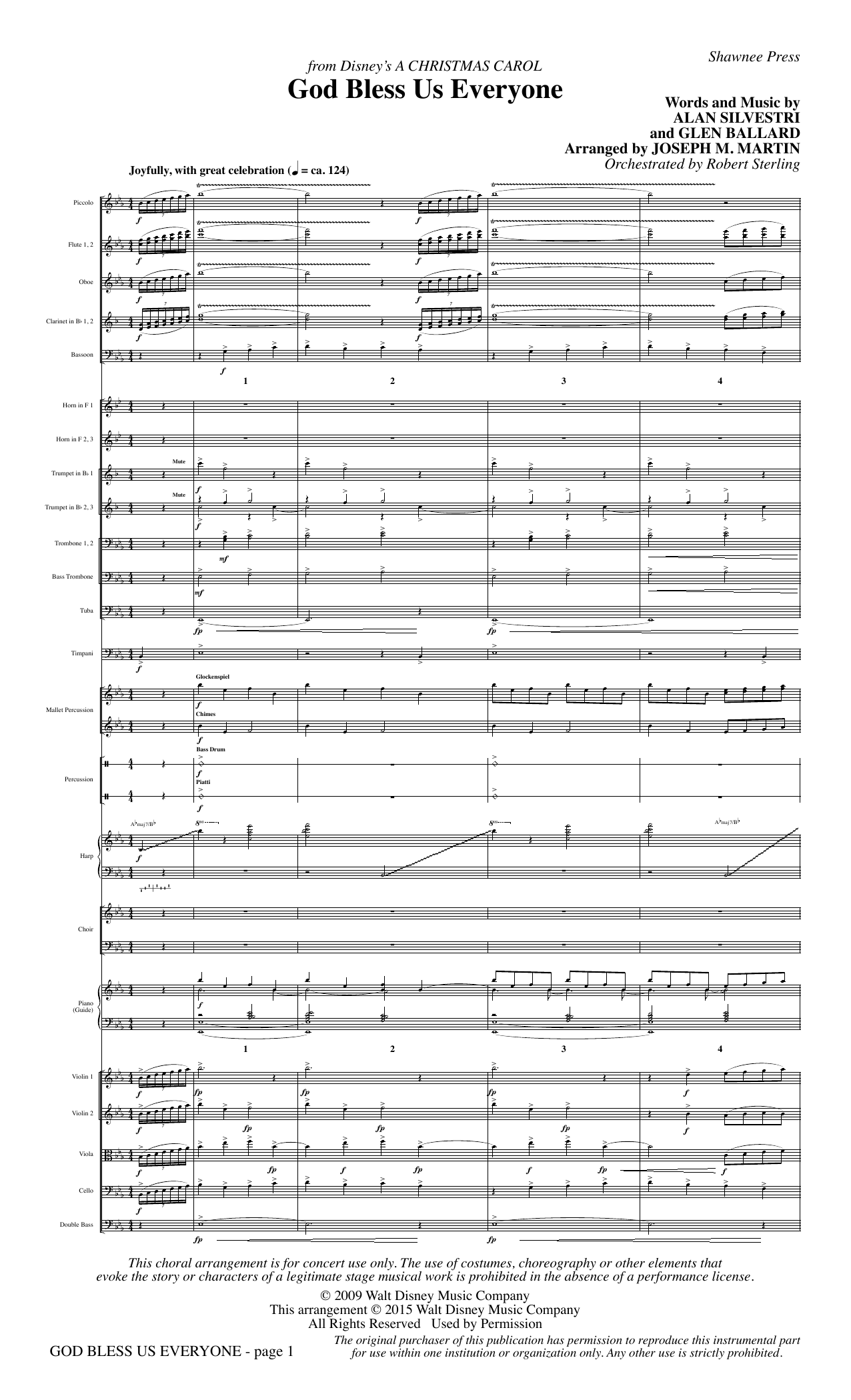 God Bless Us Everyone (from Disney's A Christmas Carol) (COMPLETE) sheet music for orchestra/band by Joseph M. Martin, Alan Silvestri, Andrea Bocelli and Glen Ballard. Score Image Preview.