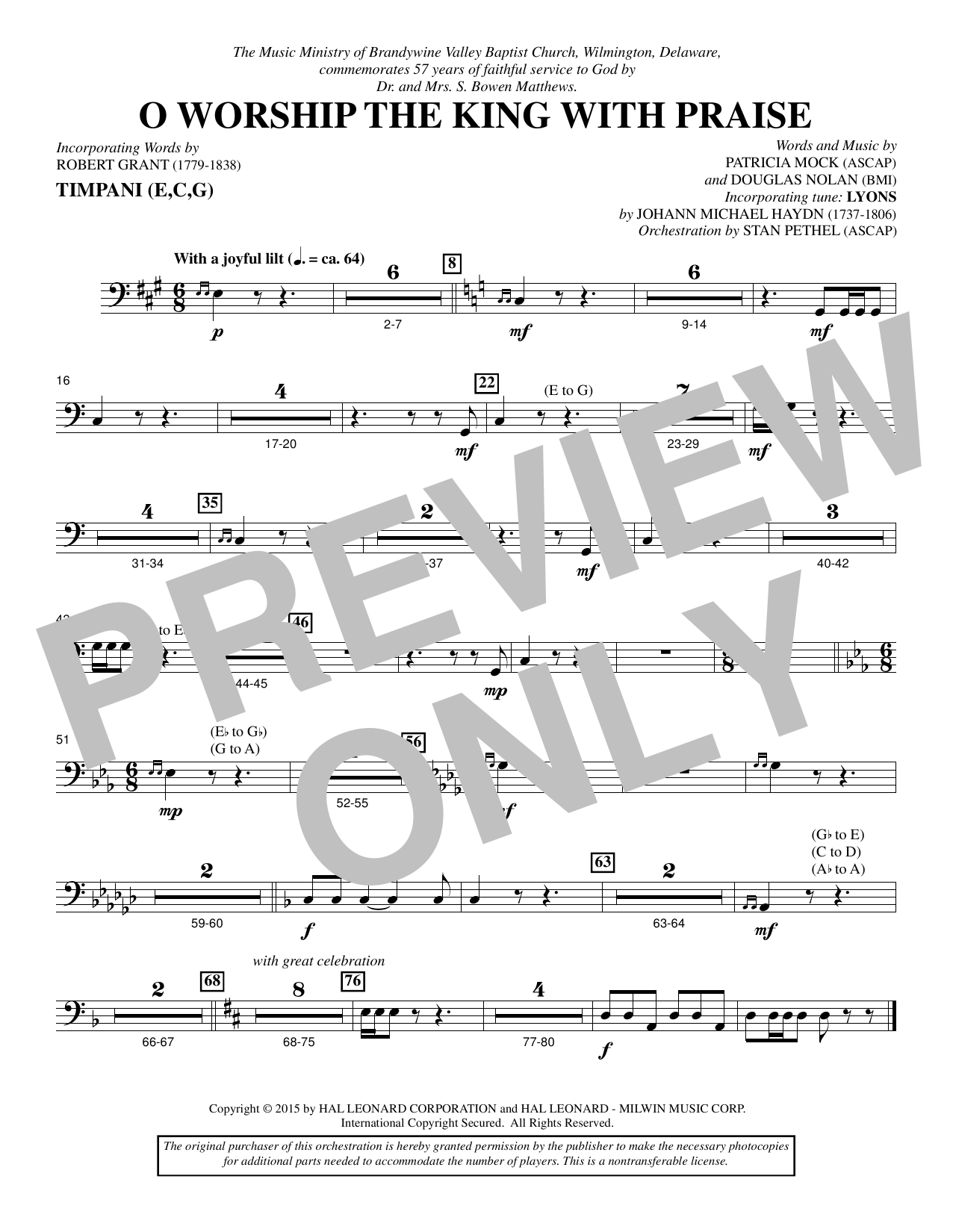 O Worship the King with Praise - Timpani Sheet Music