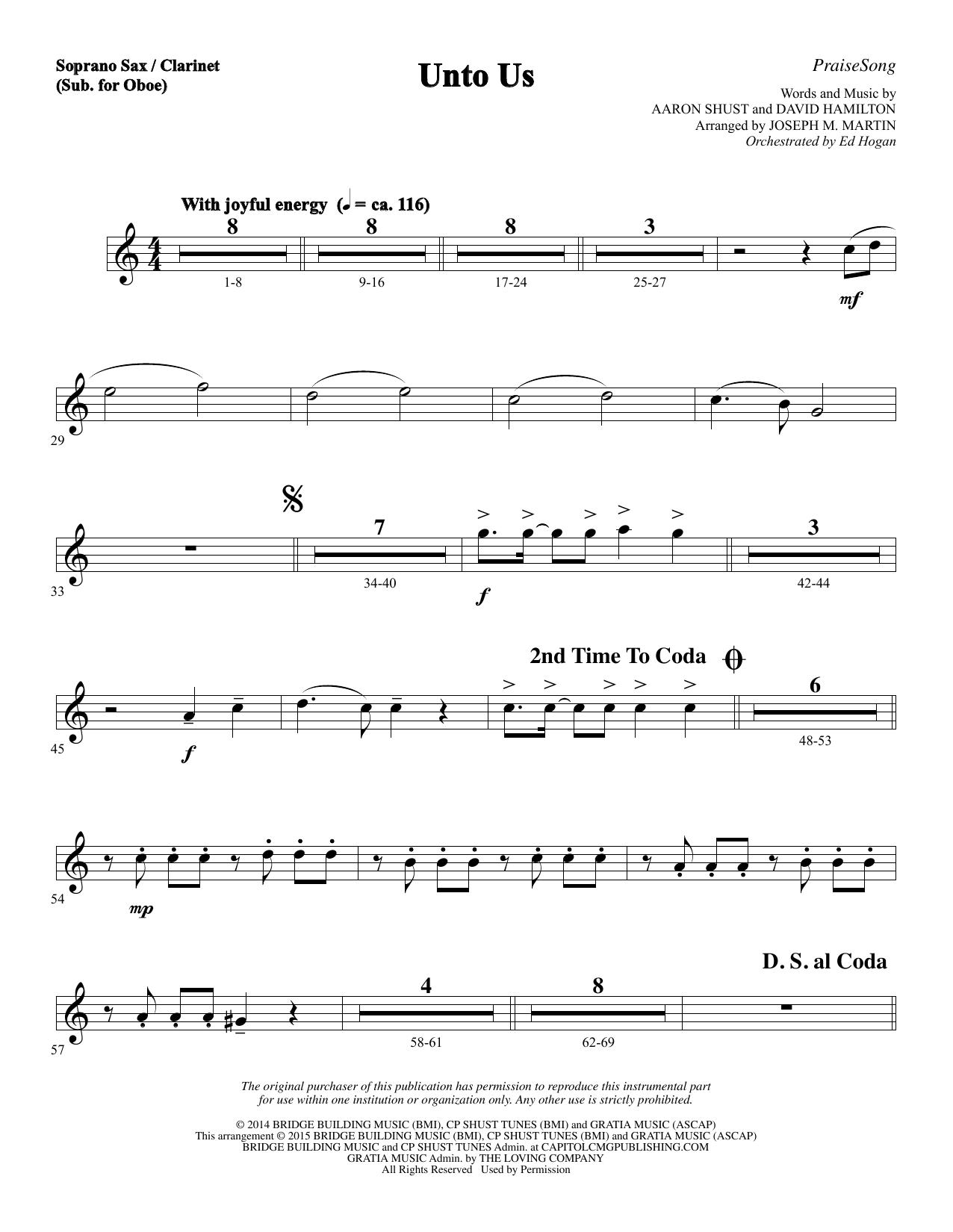 Unto Us - Soprano Sax/Clarinet(sub oboe) (Choir Instrumental Pak)
