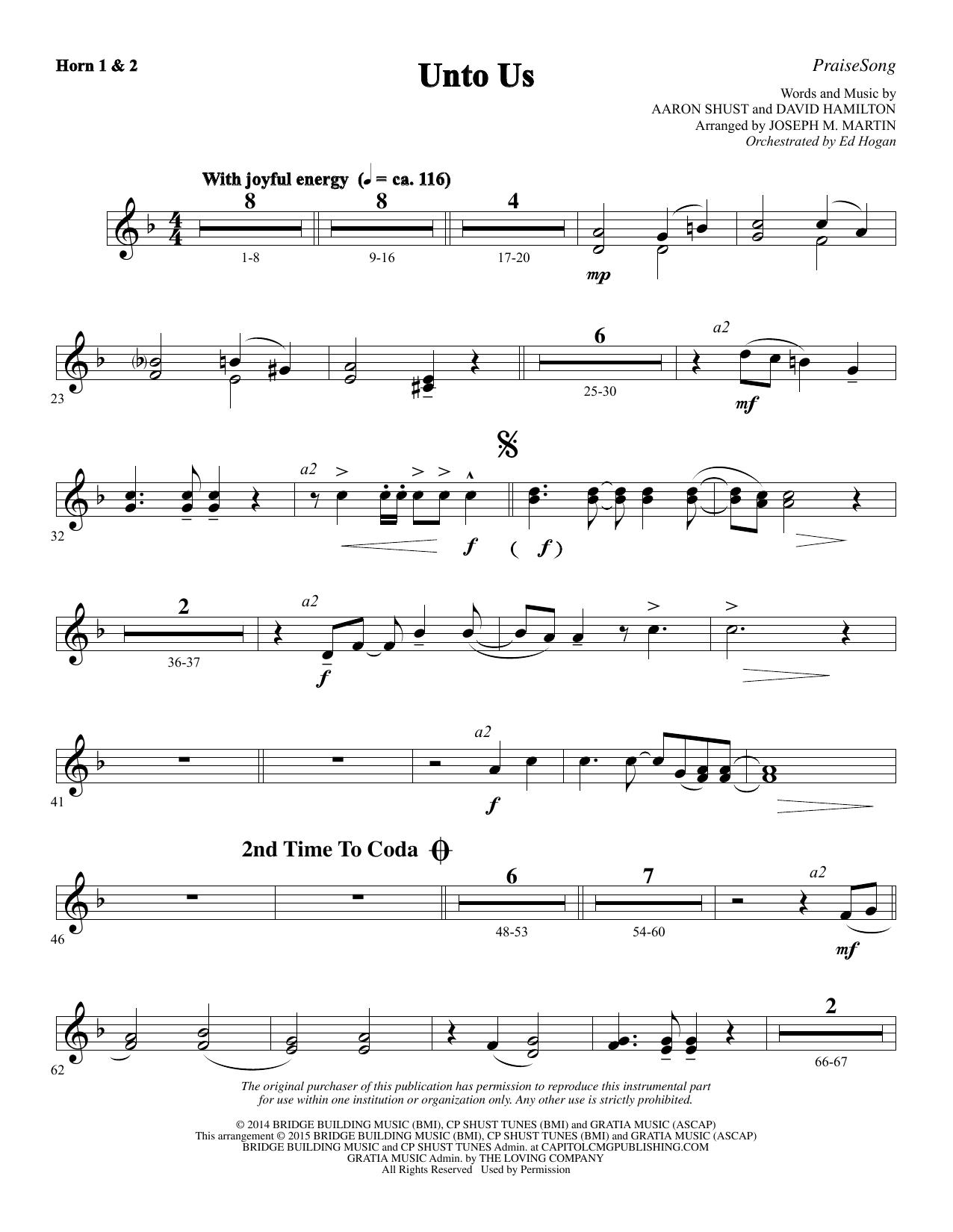 Unto Us - F Horn 1 & 2 (Choir Instrumental Pak)
