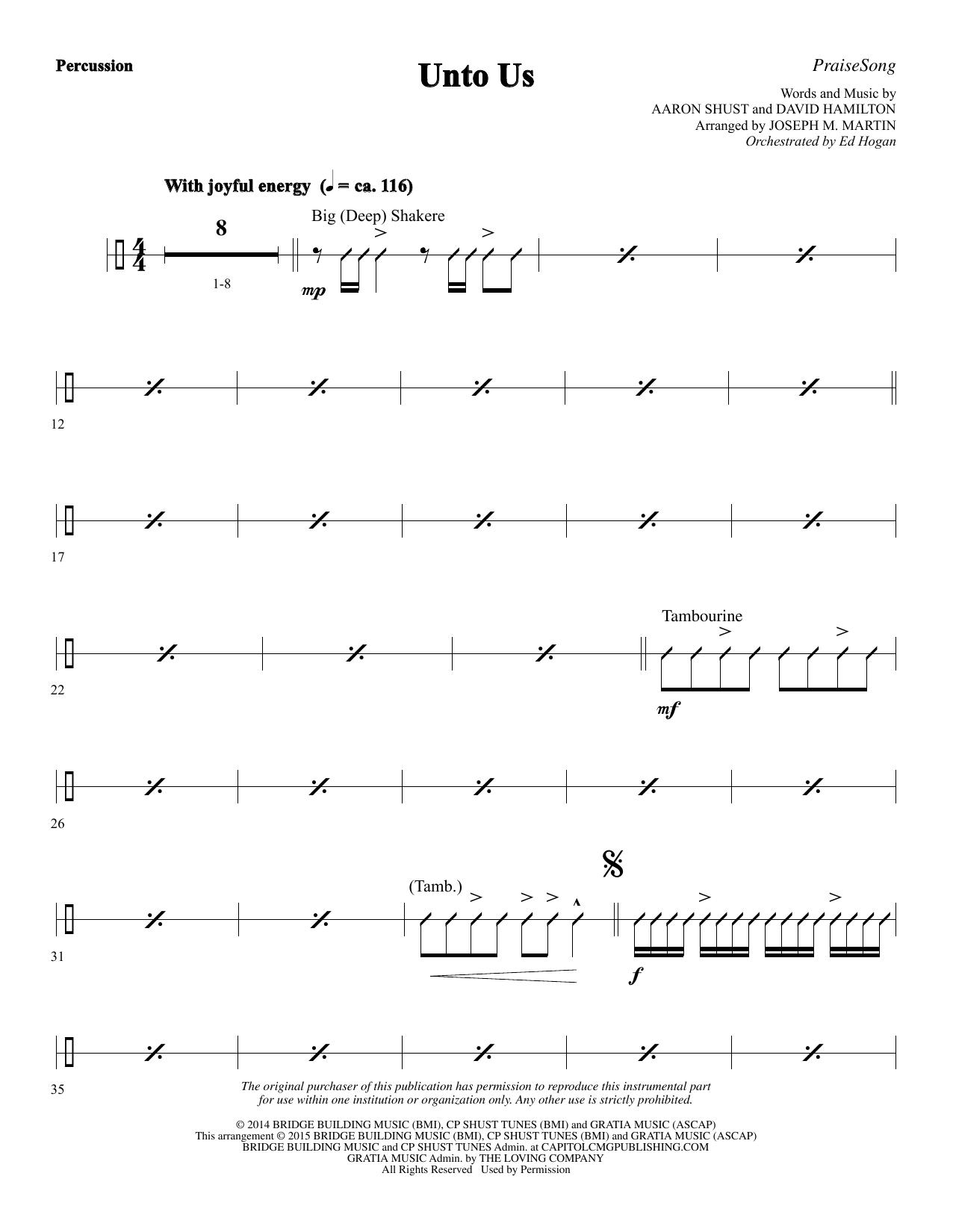 Unto Us - Percussion Sheet Music
