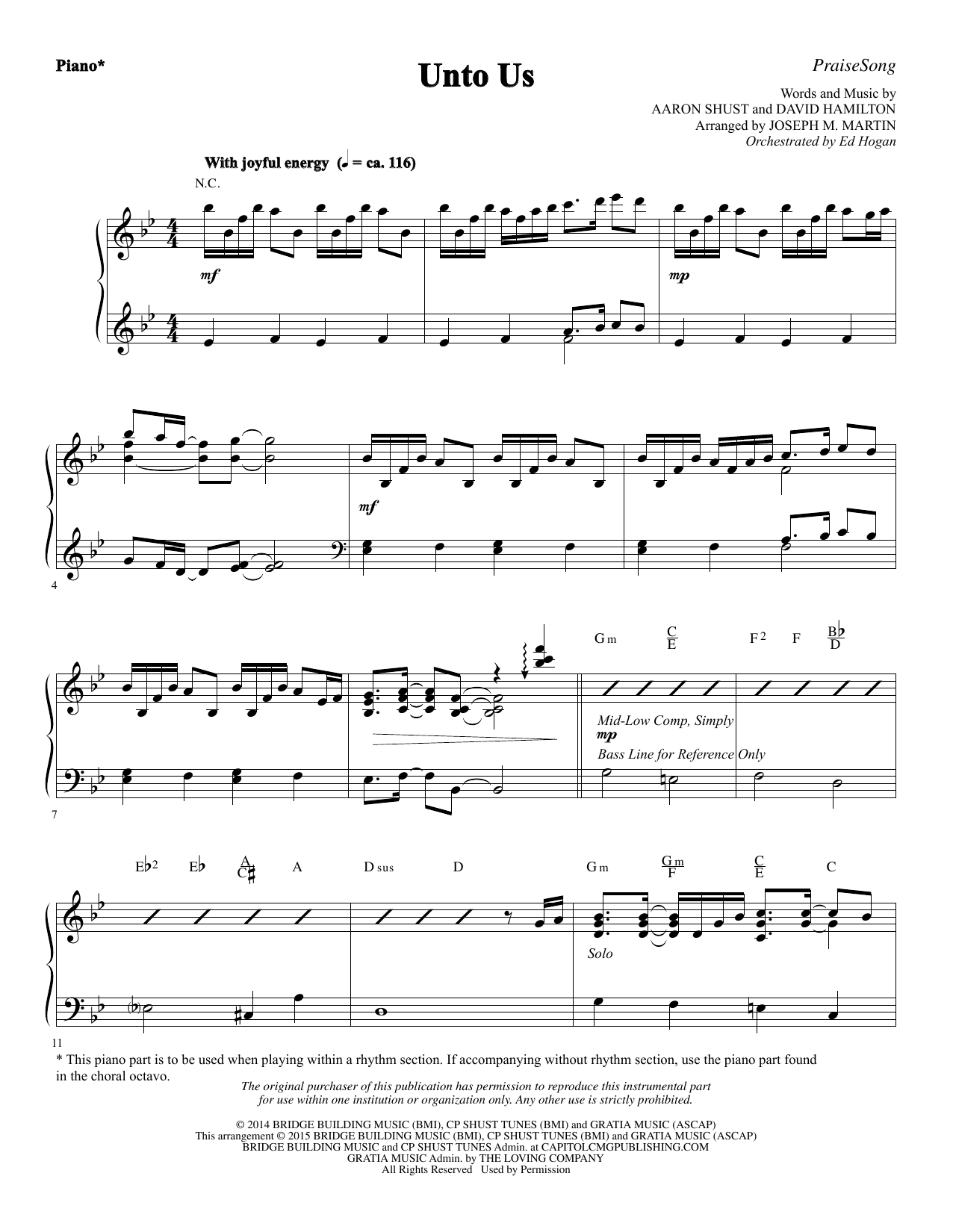 Unto Us - Piano Sheet Music
