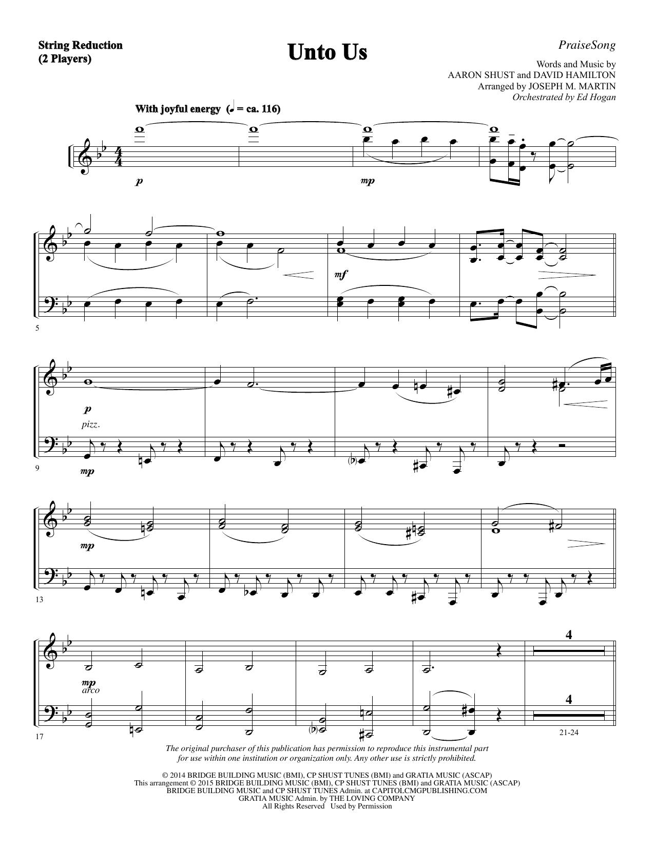 Unto Us - Keyboard String Reduction Sheet Music
