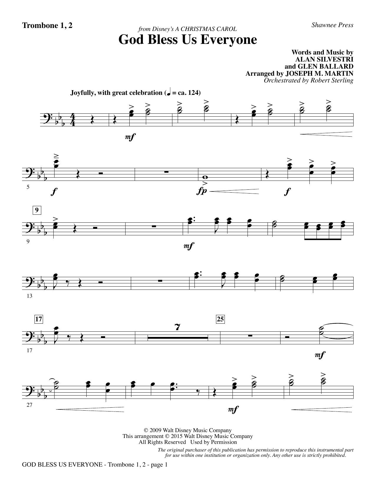 God Bless Us Everyone (from Disney's A Christmas Carol) - Trombone 1 & 2 | Sheet Music Direct