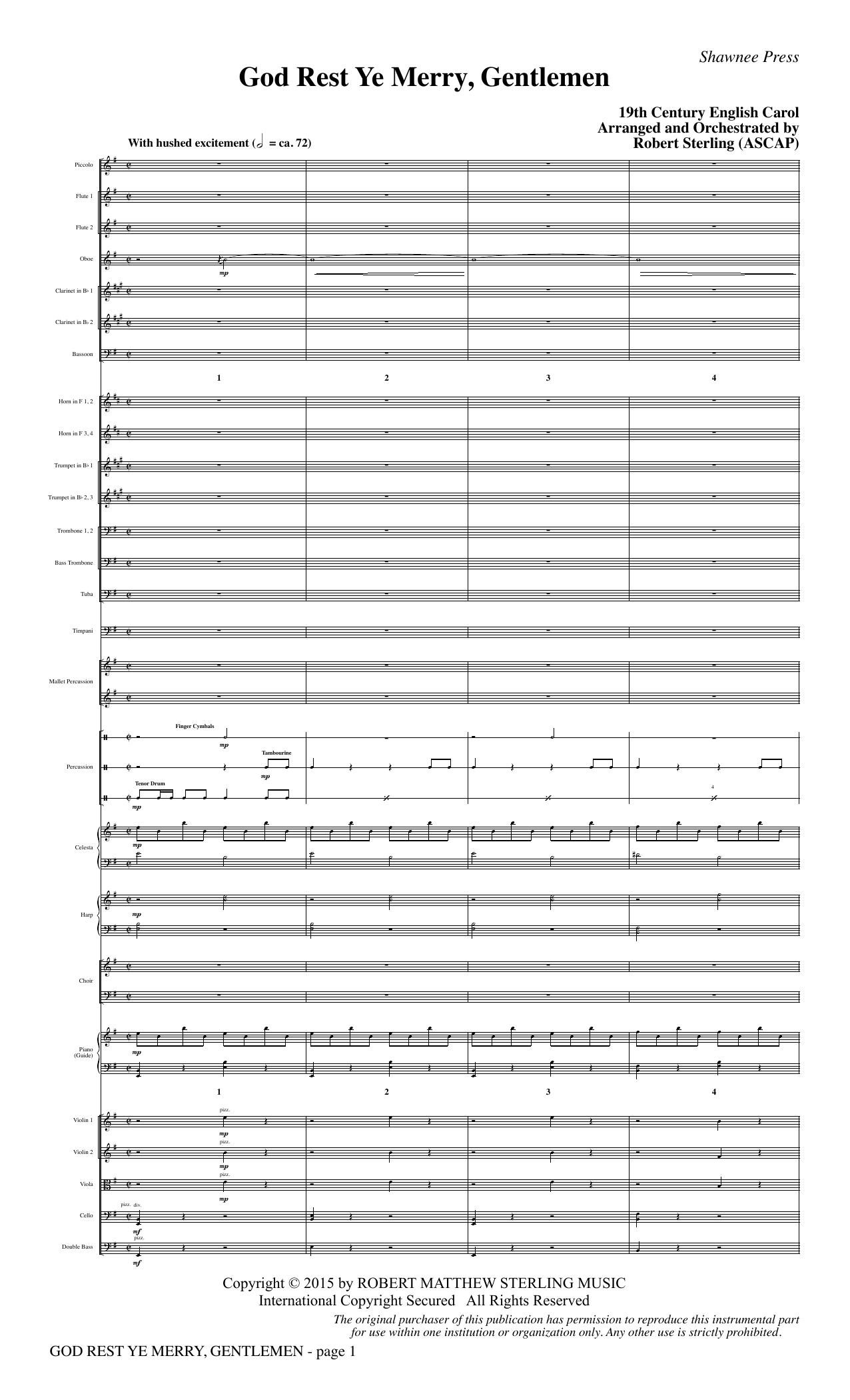 God Rest Ye Merry, Gentlemen - Full Score (Choir Instrumental Pak)