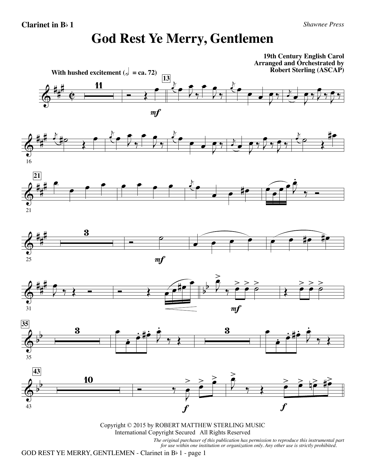 God Rest Ye Merry, Gentlemen - Bb Clarinet 1 (Choir Instrumental Pak)