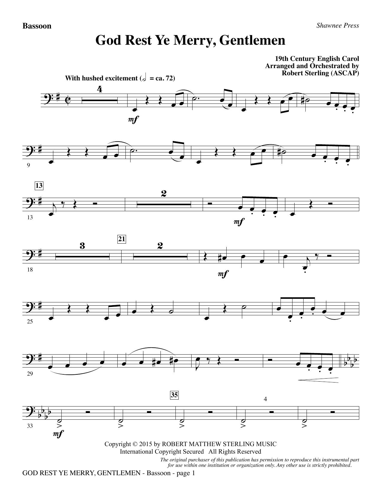 God Rest Ye Merry, Gentlemen - Bassoon (Choir Instrumental Pak)