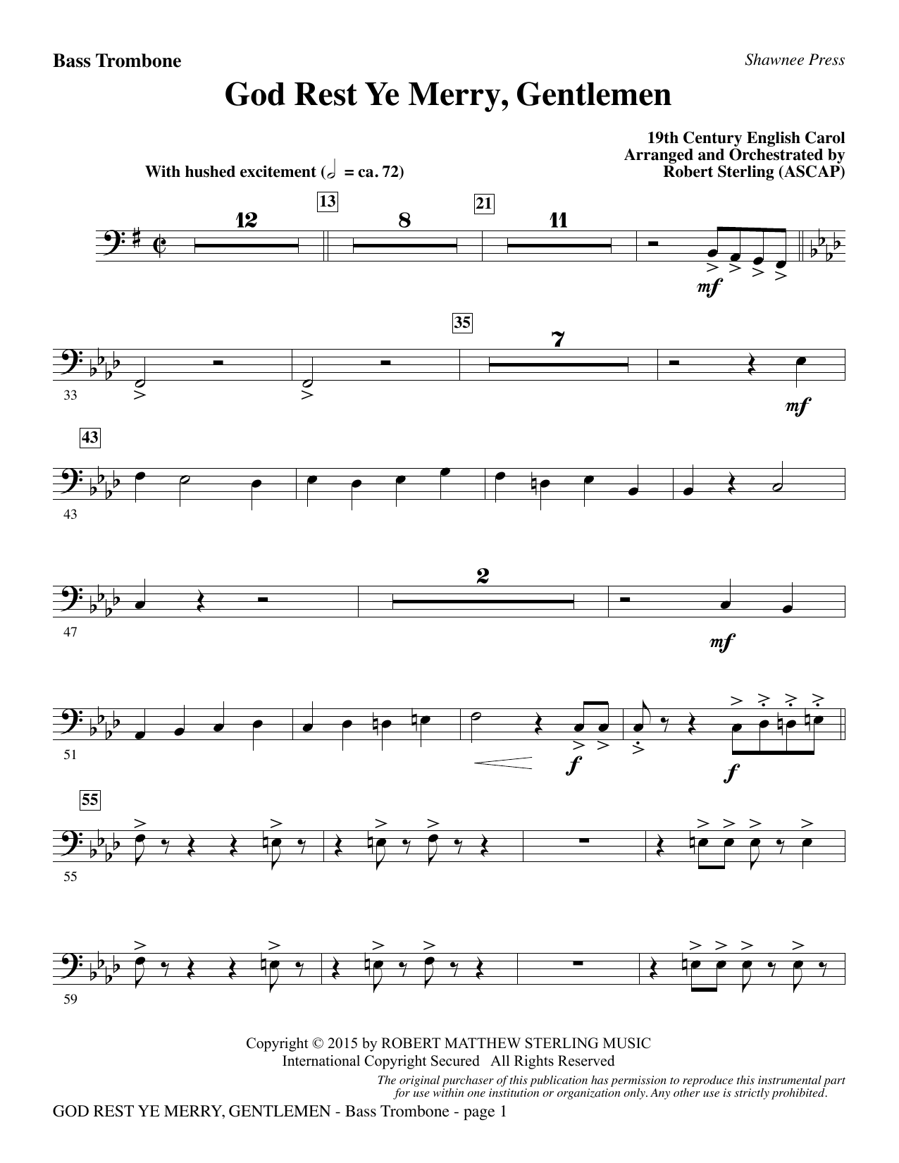 God Rest Ye Merry, Gentlemen - Bass Trombone (Choir Instrumental Pak)