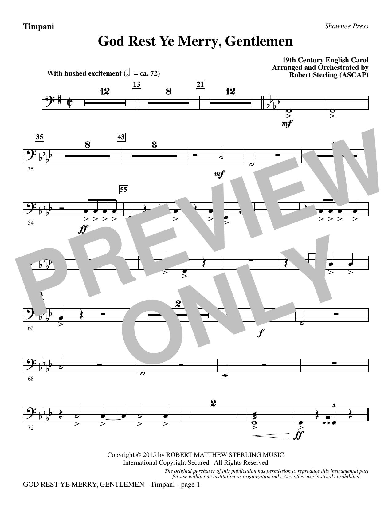 God Rest Ye Merry, Gentlemen - Timpani (Choir Instrumental Pak)