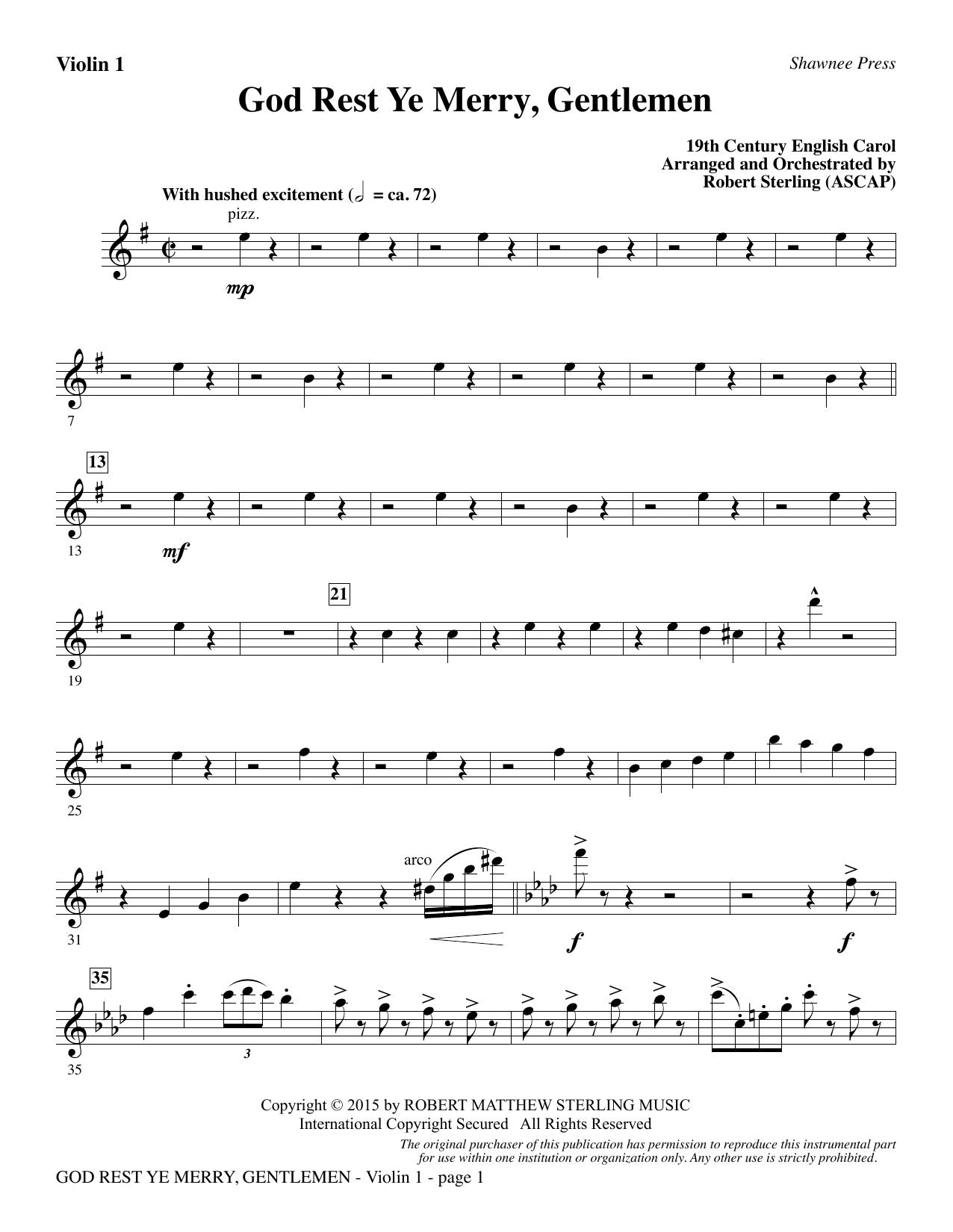 God Rest Ye Merry, Gentlemen - Violin 1 (Choir Instrumental Pak)