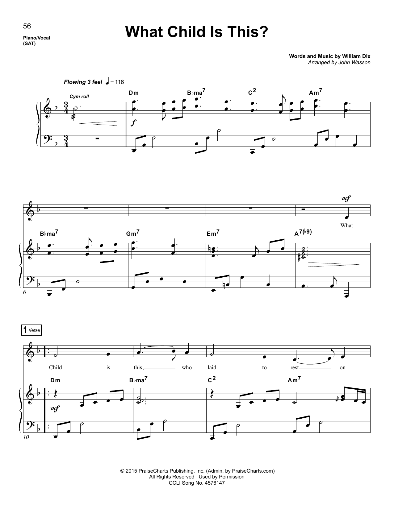 Partition piano What Child Is This? de John Wasson - Piano Voix