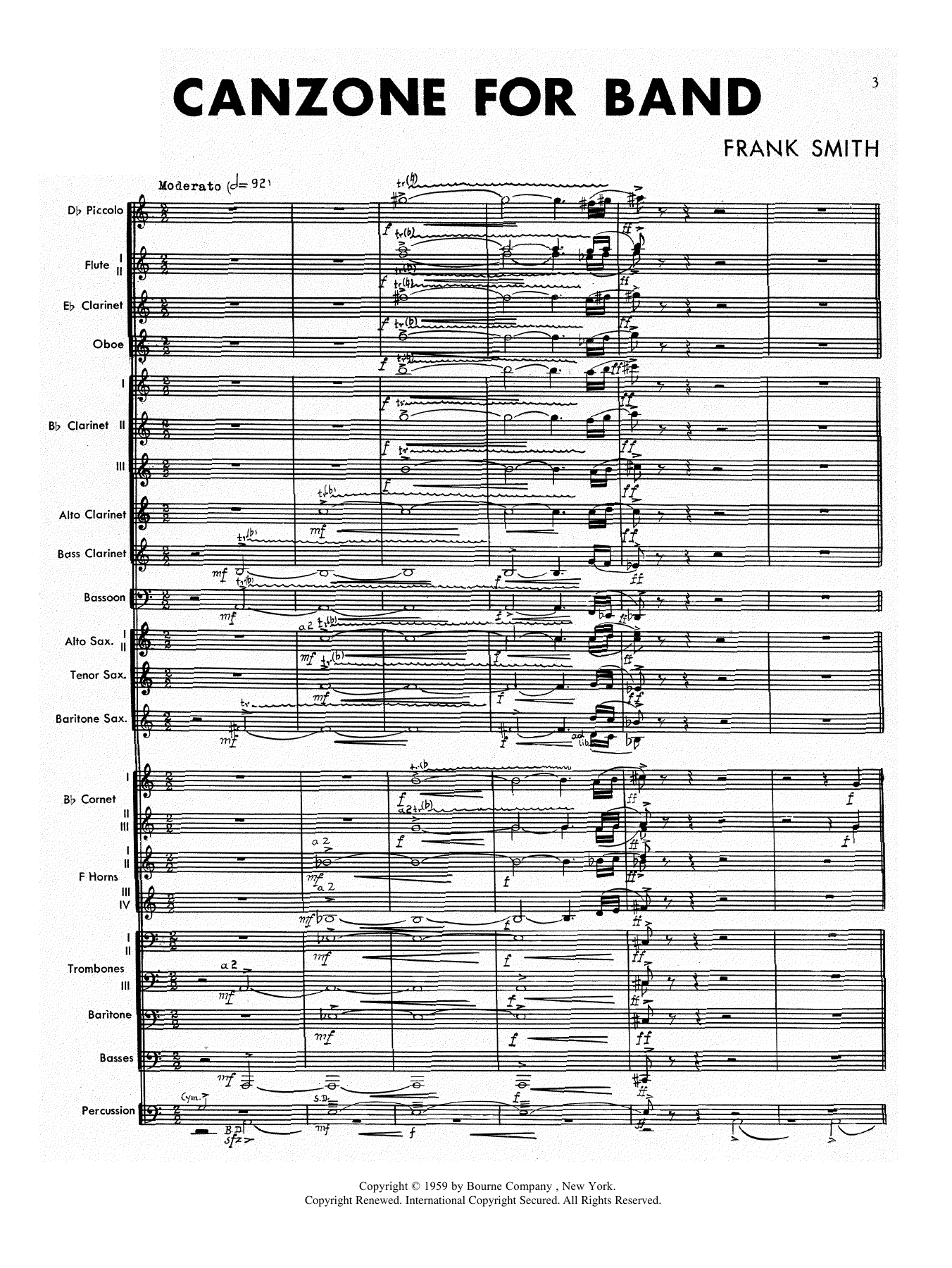 Canzone For Band (COMPLETE) sheet music for concert band by Frank Smith. Score Image Preview.
