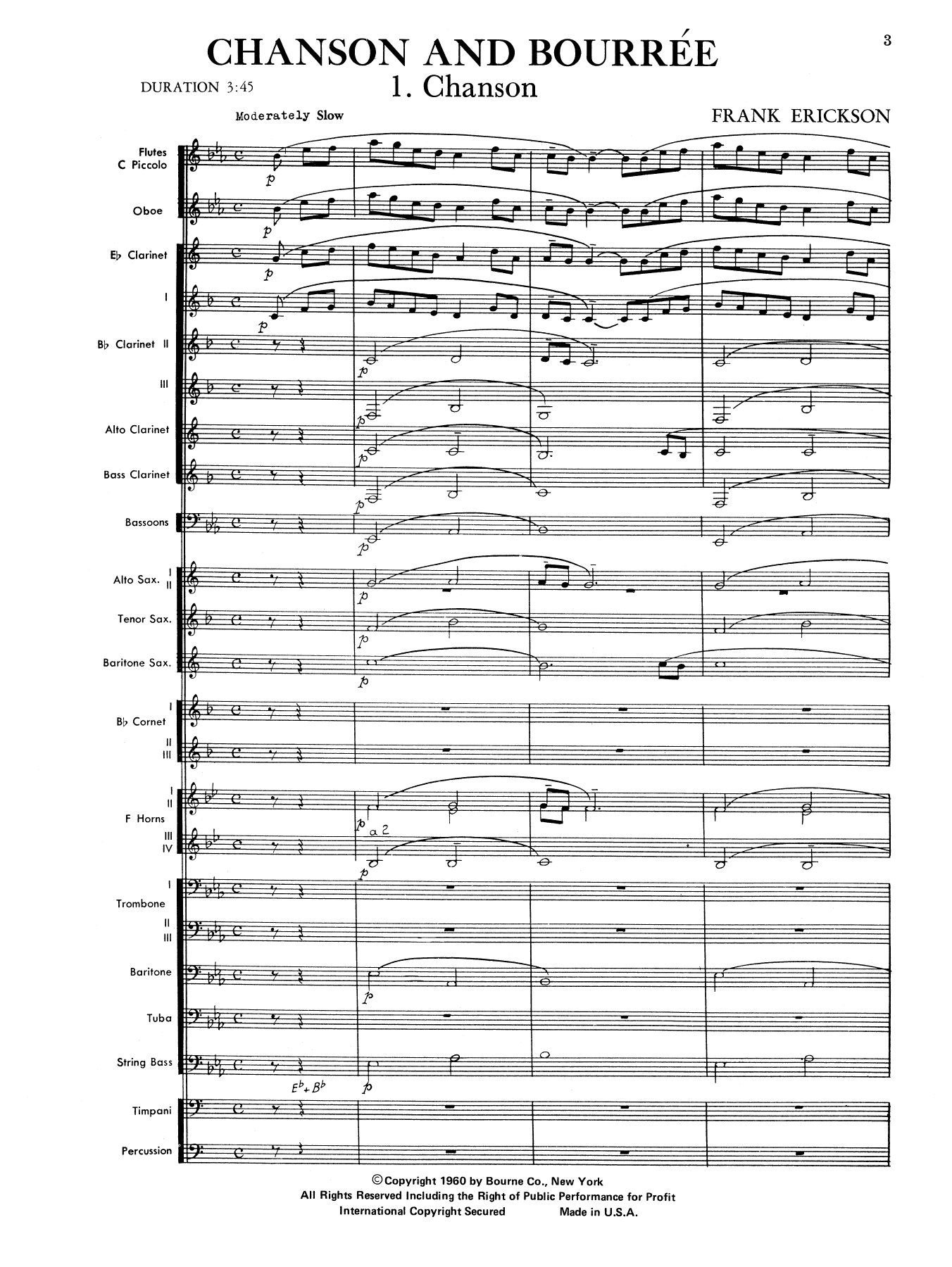 Chanson And Bourree (COMPLETE) sheet music for concert band by Frank Erickson. Score Image Preview.
