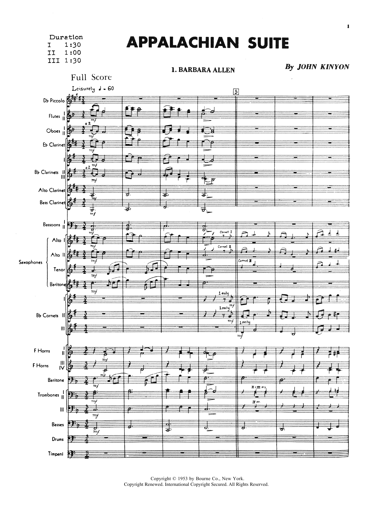 Appalachian Suite (COMPLETE) sheet music for concert band by John Kinyon. Score Image Preview.