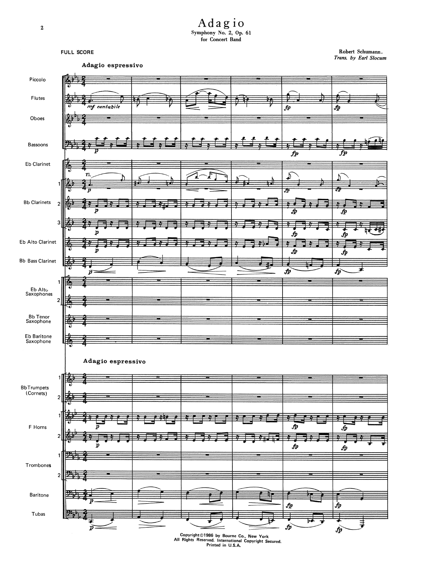 Adagio Symphony No. 2, Op. 61 (COMPLETE) sheet music for concert band by Earl Slocum and Robert Schumann. Score Image Preview.