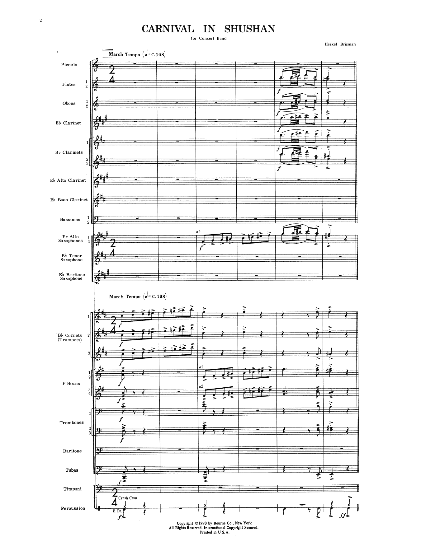 Carnival In Shushan (COMPLETE) sheet music for concert band by Heskel Brisman. Score Image Preview.