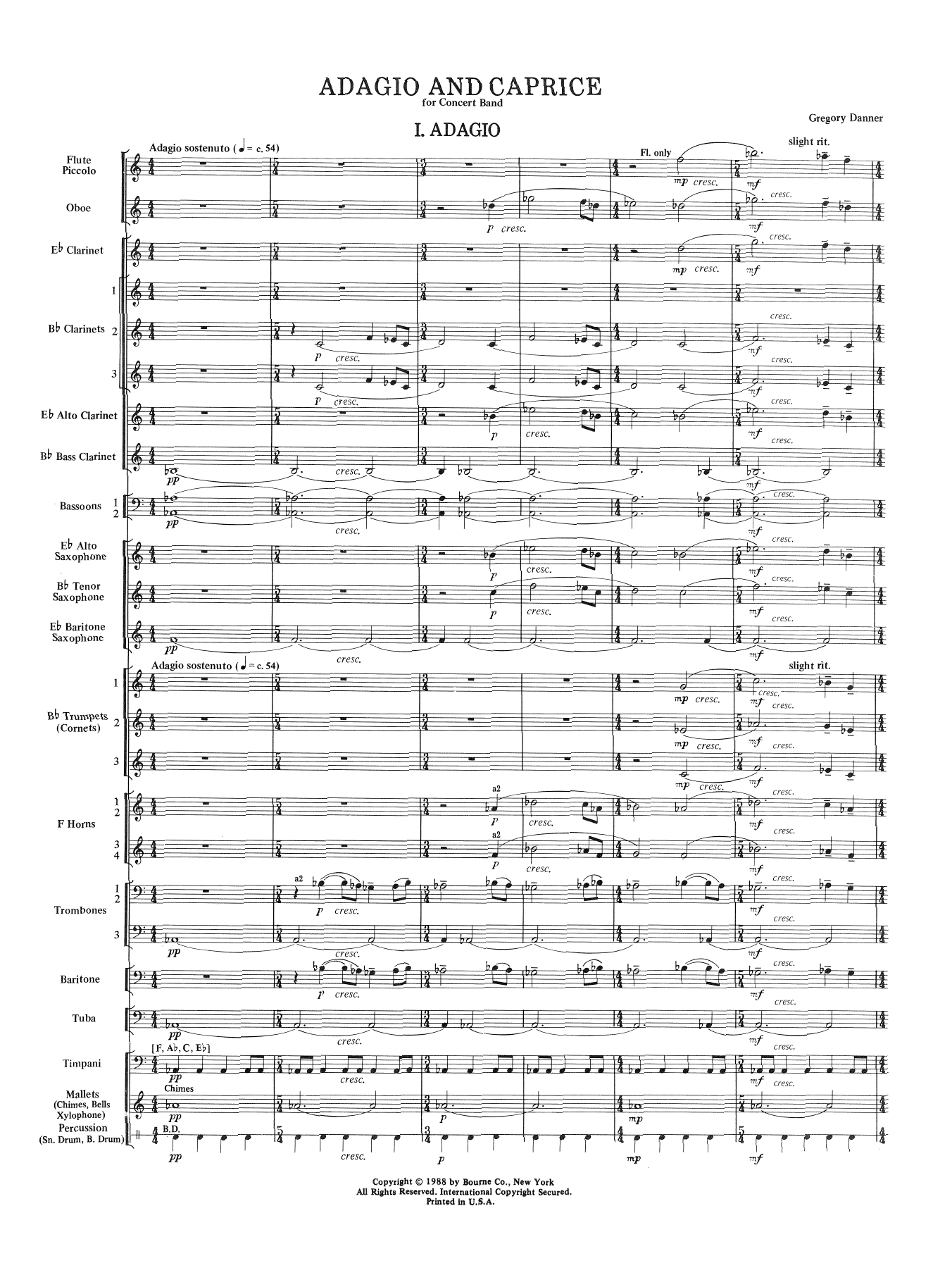 Adagio and Caprice (COMPLETE) sheet music for concert band by Gregory Danner. Score Image Preview.