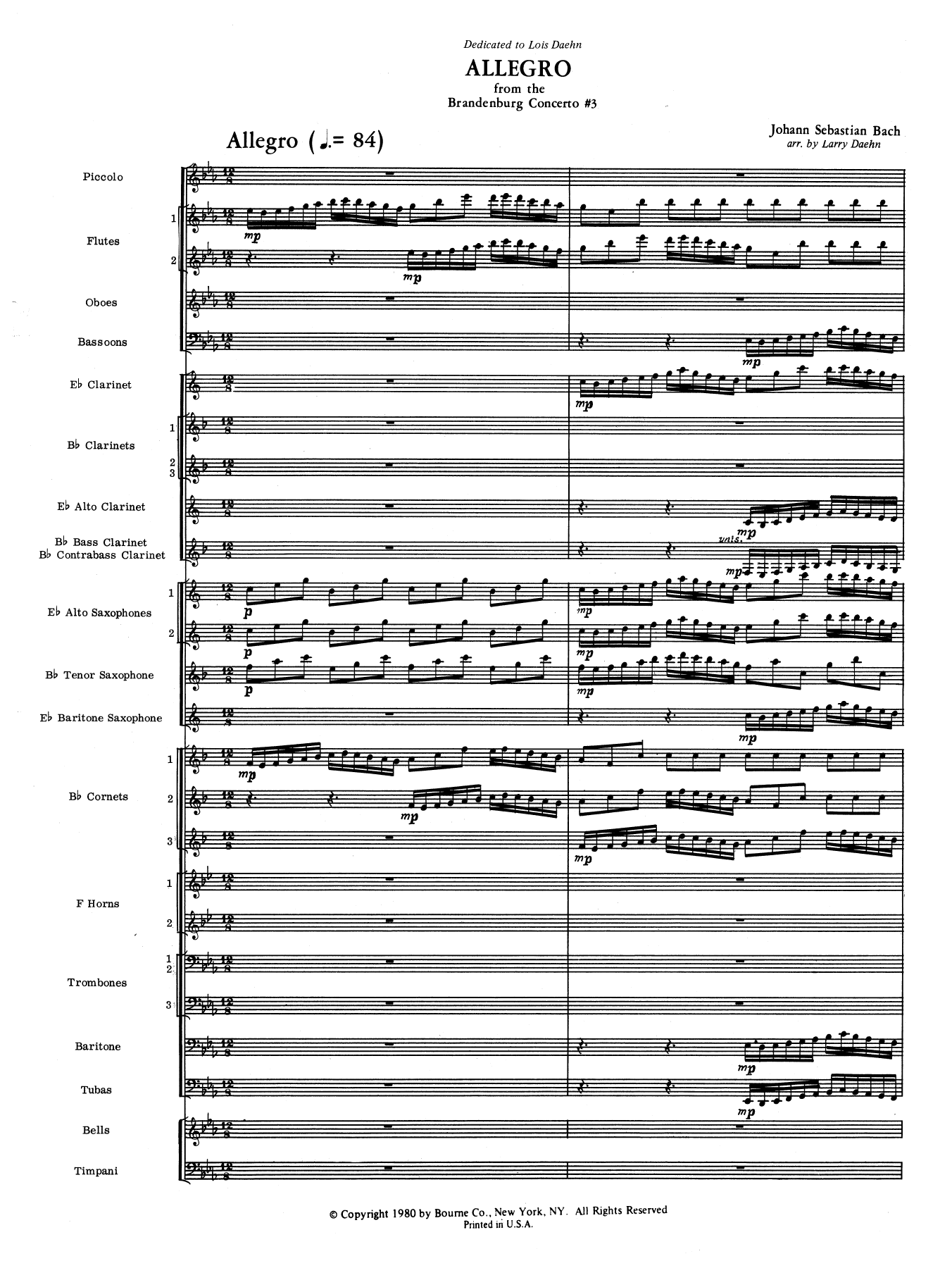 Allegro from Brandenburg Concerto No. 3 (COMPLETE) sheet music for concert band by Larry Daehn and Johann Sebastian Bach. Score Image Preview.