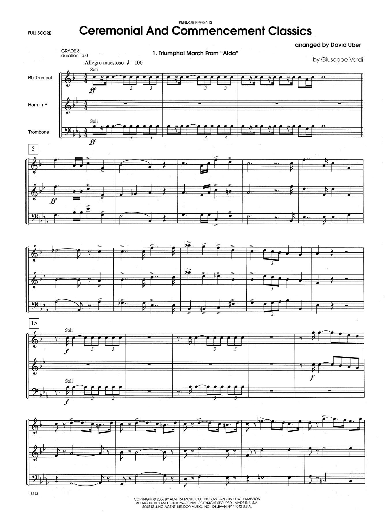 Ceremonial And Commencement Classics (COMPLETE) sheet music for brass trio by David Uber. Score Image Preview.