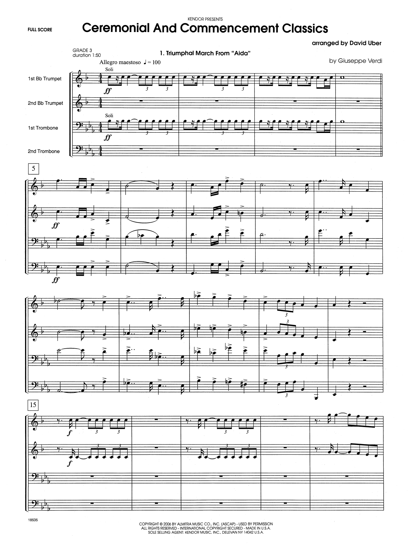 Ceremonial And Commencement Classics (COMPLETE) sheet music for brass quartet by David Uber. Score Image Preview.