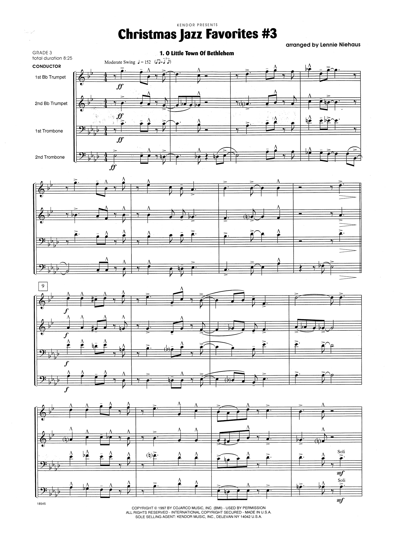 Christmas Jazz Favorites #3 (COMPLETE) sheet music for brass quartet by Lennie Niehaus. Score Image Preview.