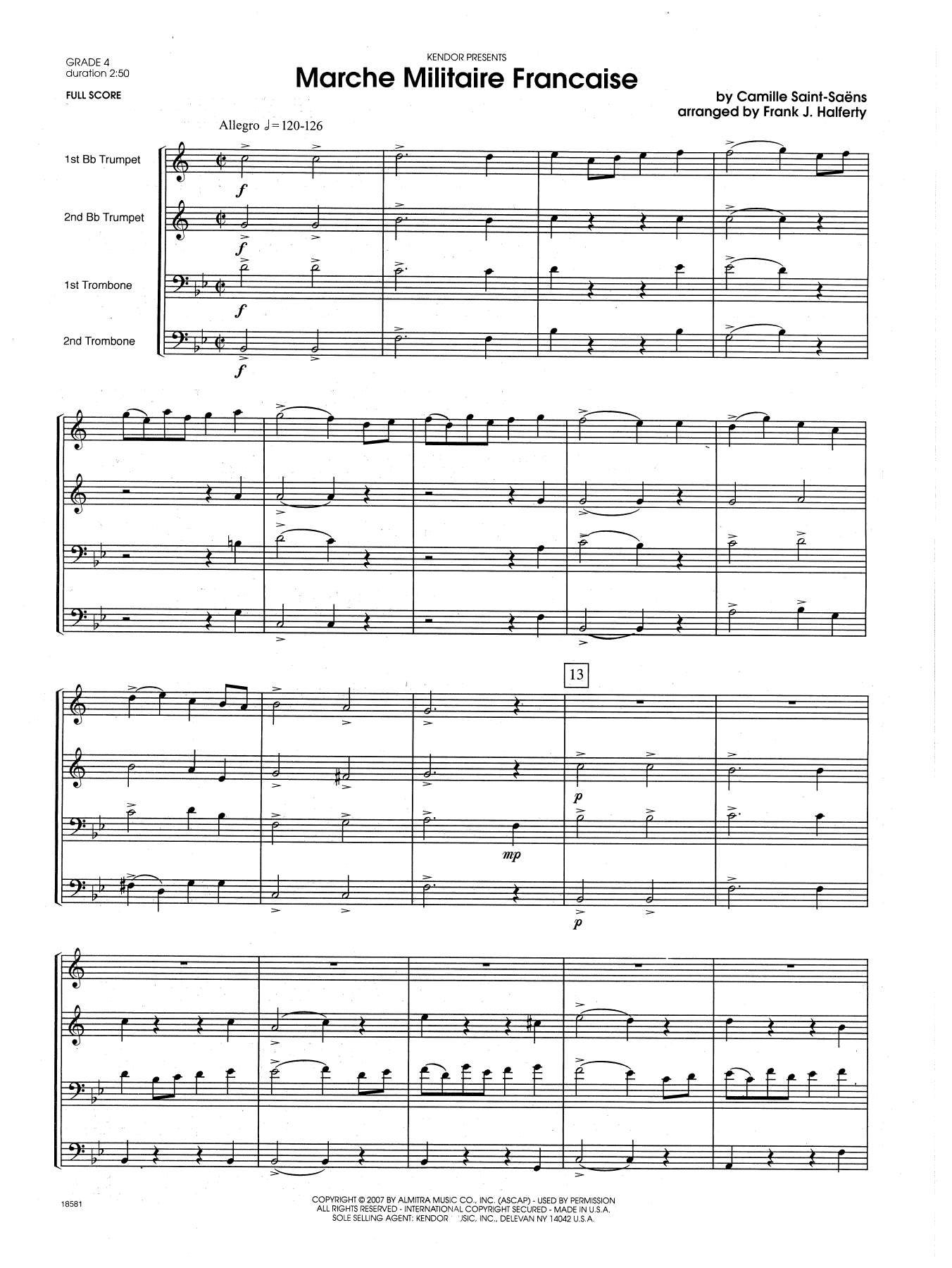 Marche Militaire Francaise (COMPLETE) sheet music for brass quartet by Frank J. Halferty and Camille Saint-Saens. Score Image Preview.