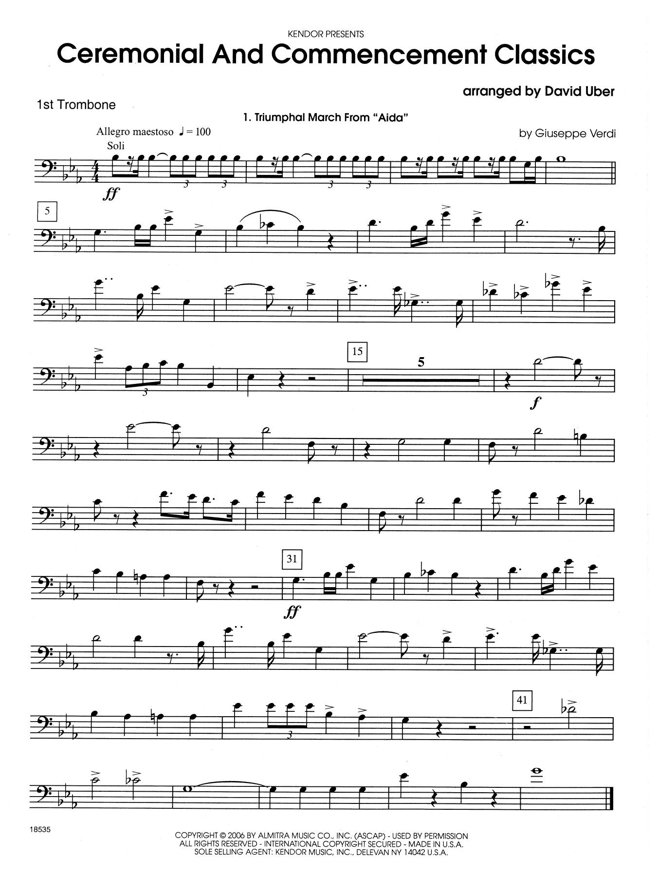 Ceremonial And Commencement Classics - 1st Trombone Sheet Music