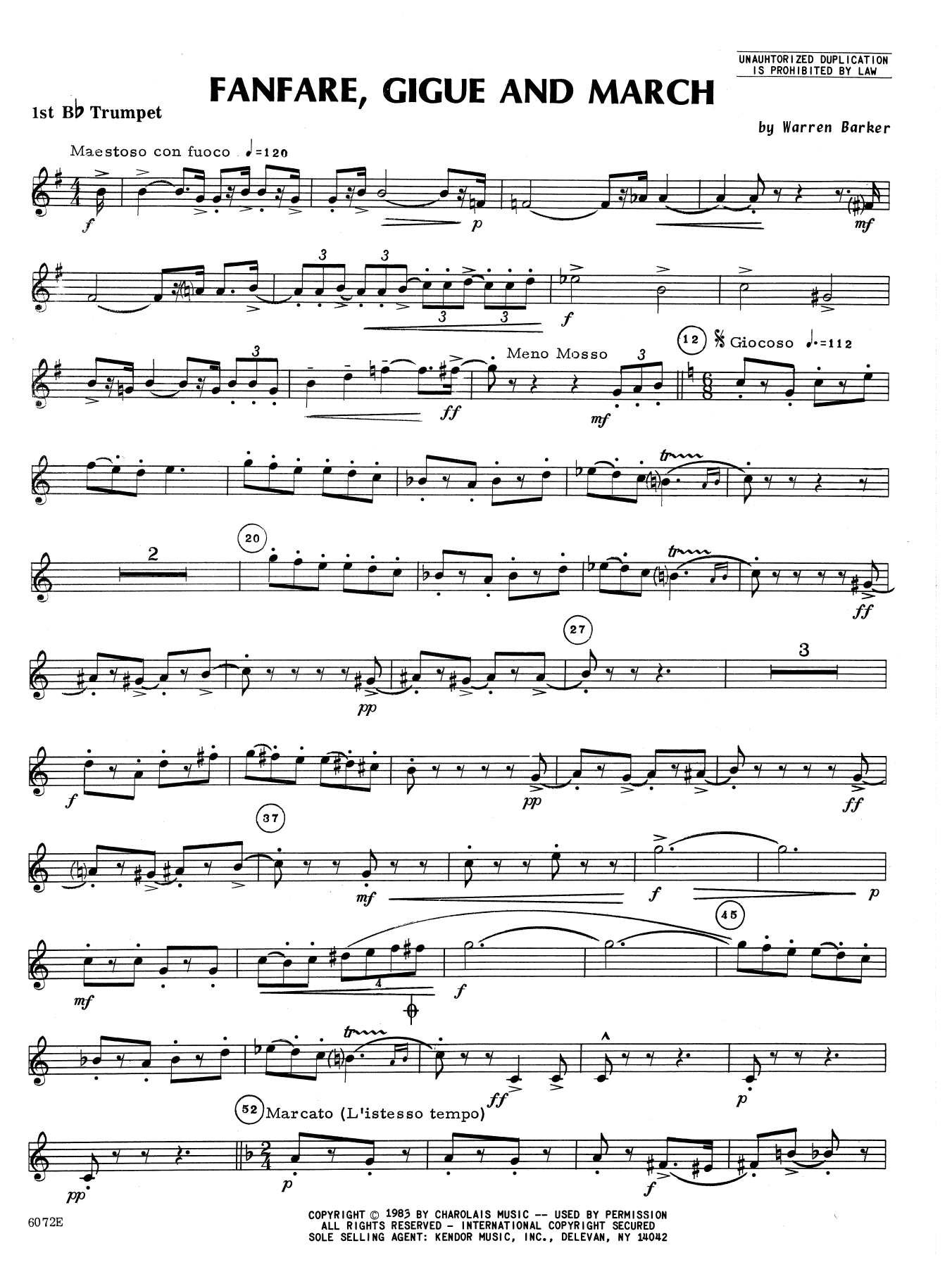 Fanfare, Gigue And March - 1st Bb Trumpet Sheet Music