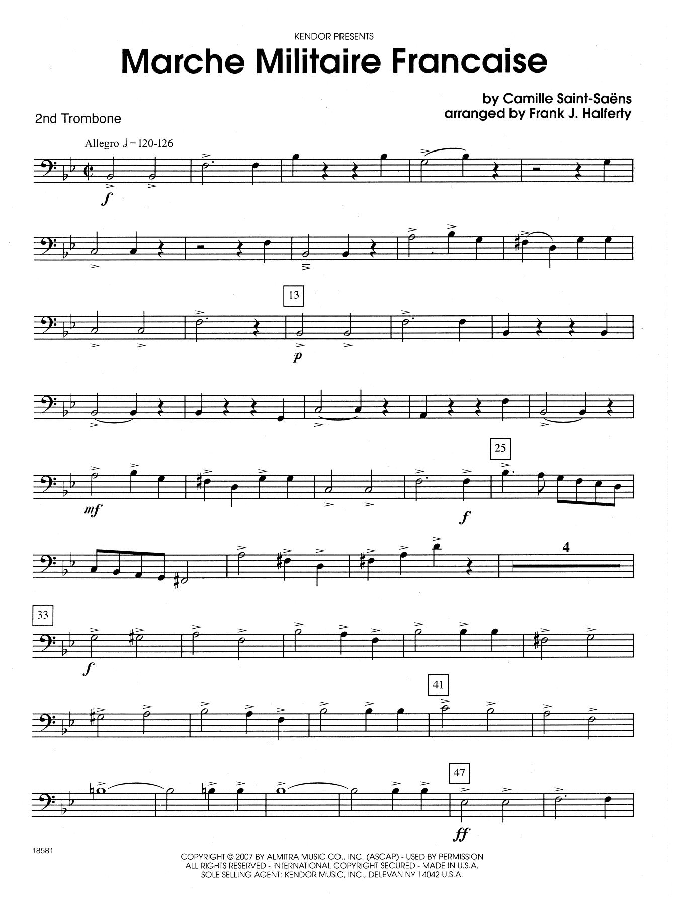 Marche Militaire Francaise - 2nd Trombone Sheet Music