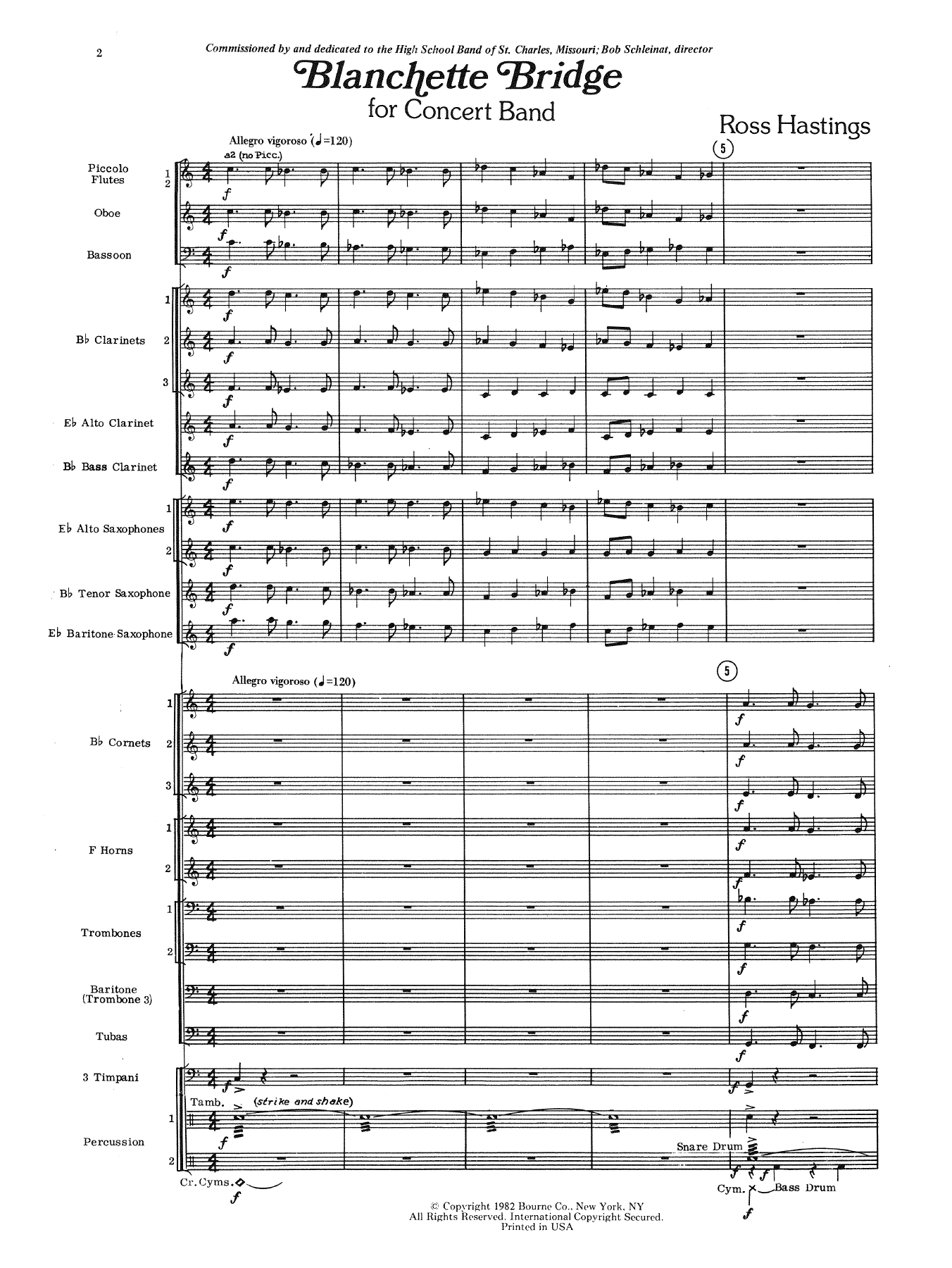 Blanchette Bridge (COMPLETE) sheet music for concert band by Ross Hastings. Score Image Preview.