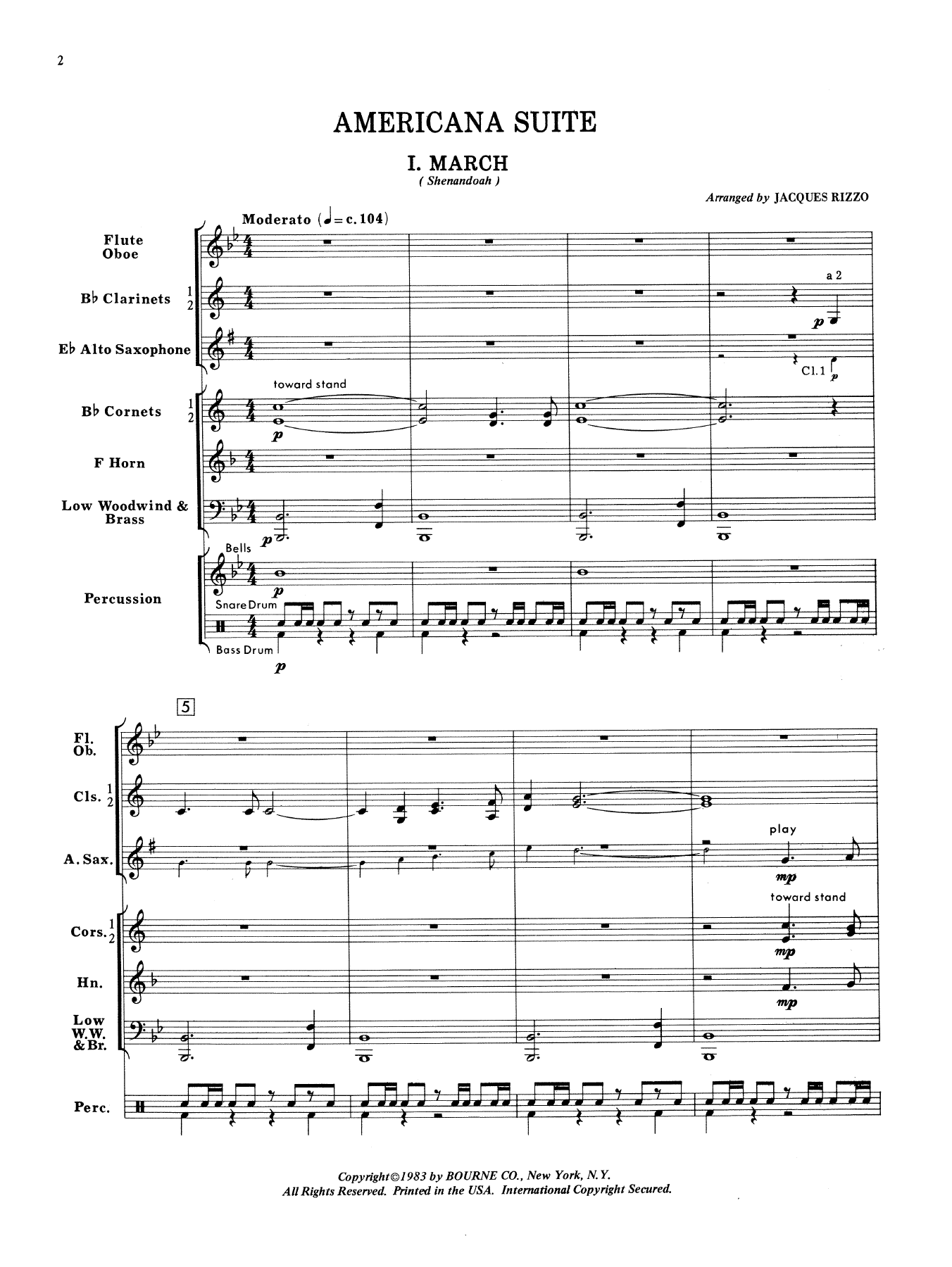 Americana Suite (COMPLETE) sheet music for concert band by Jacques Rizzo. Score Image Preview.