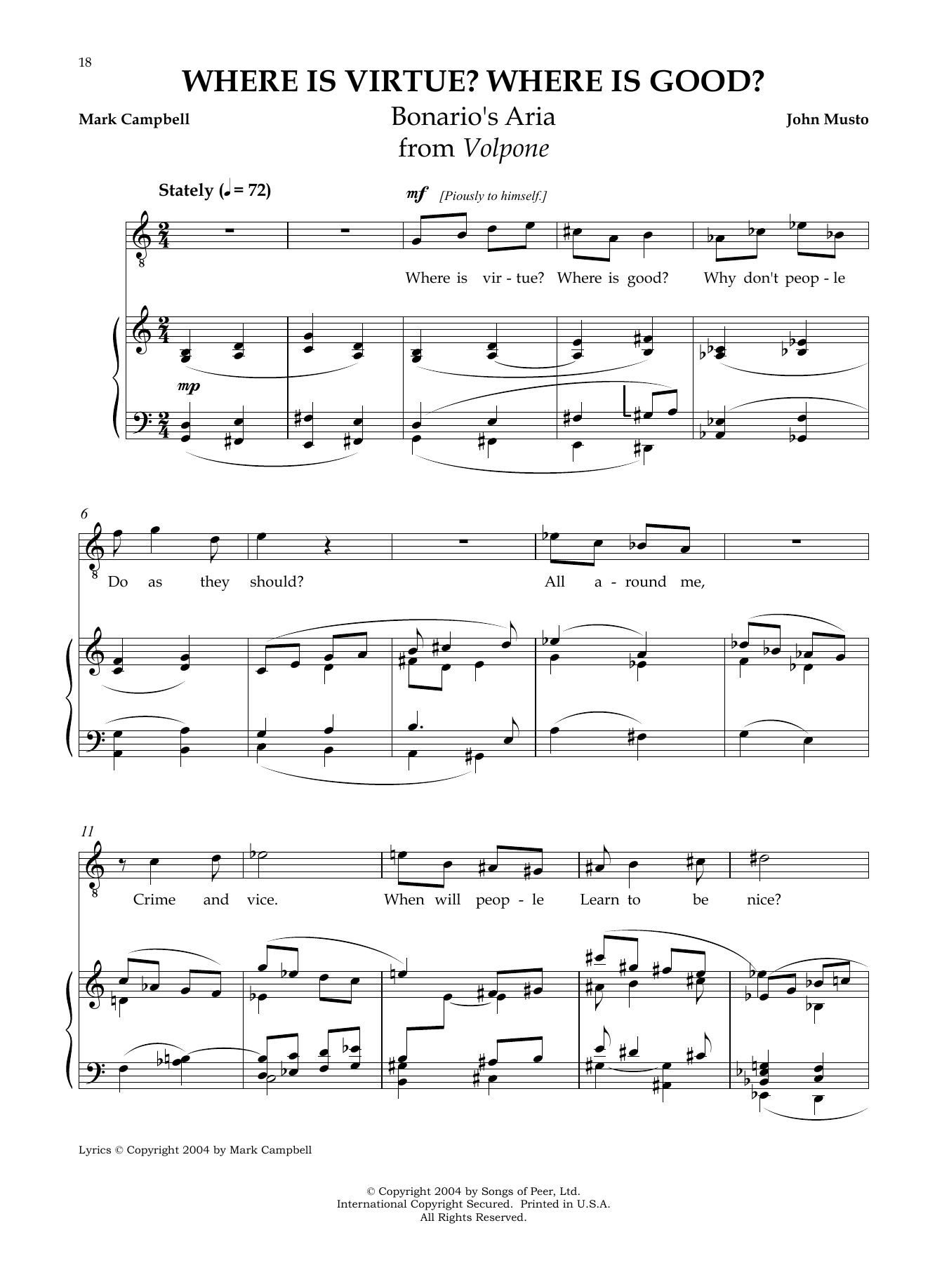 Where Is Virtue? Where Is Good? Sheet Music