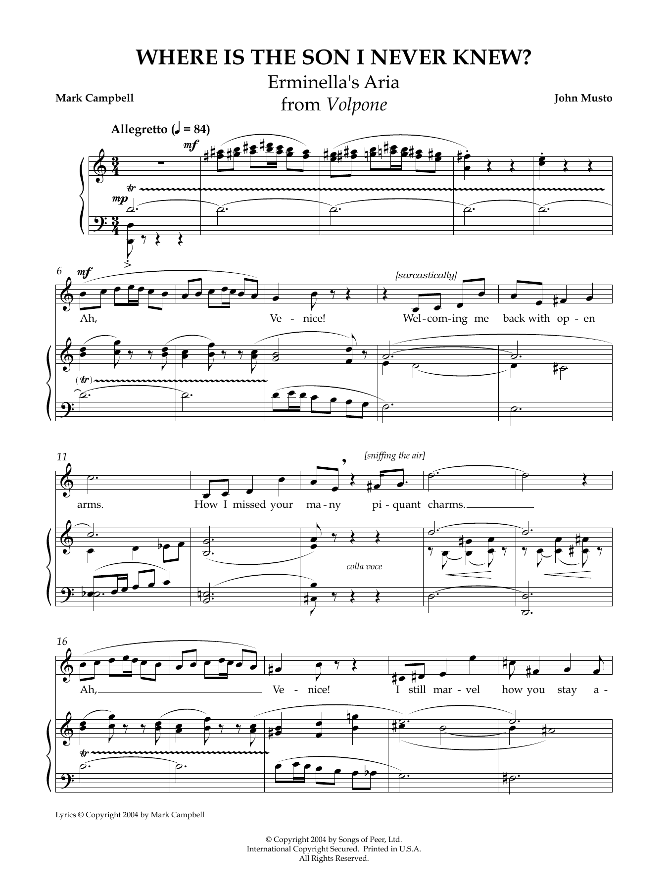 Where Is the Son I Never Knew? Sheet Music