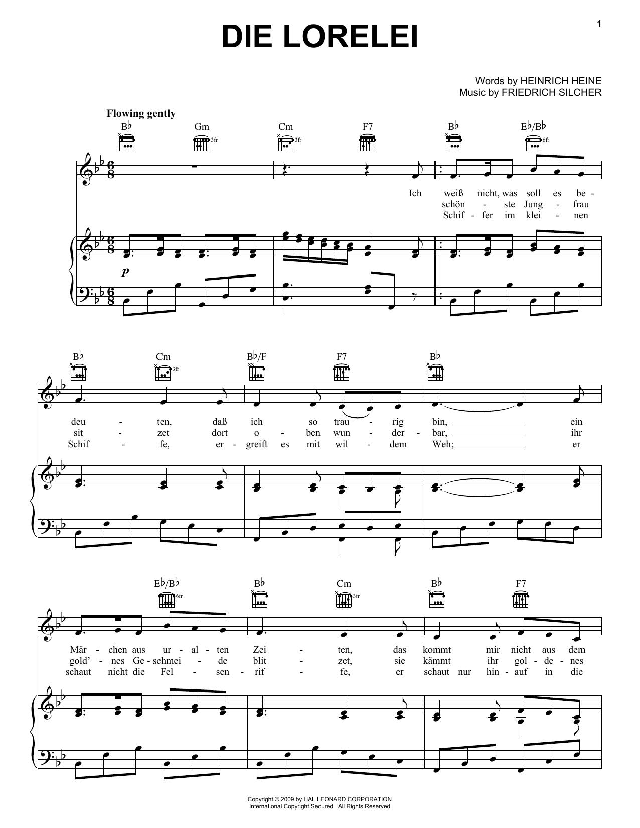 Partition piano Die Lorelei de Heinrich Heine - Piano Voix Guitare (Mélodie Main Droite)