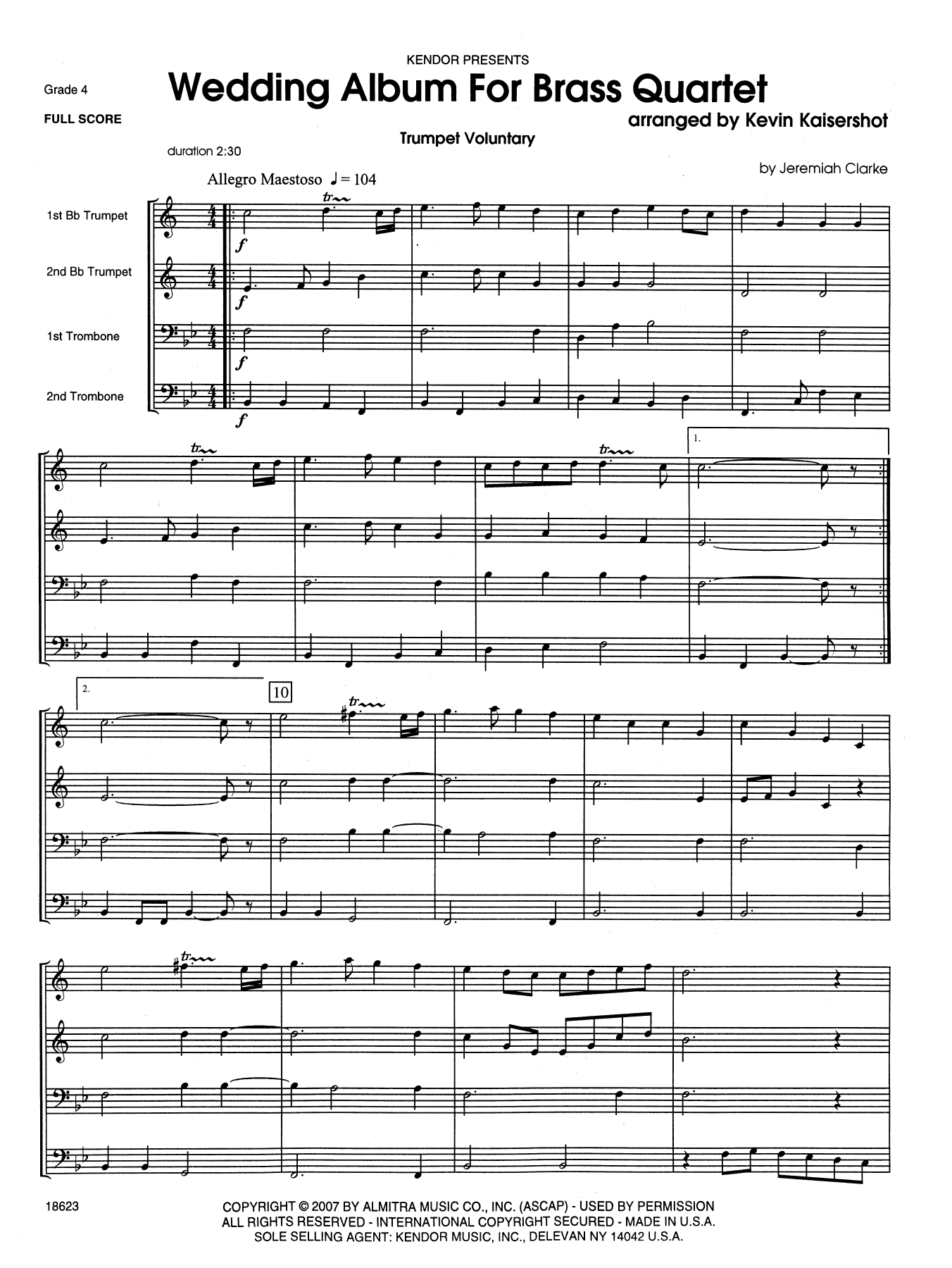 Wedding Album For Brass Quartet (COMPLETE) sheet music for brass quintet by Kevin Kaisershot. Score Image Preview.