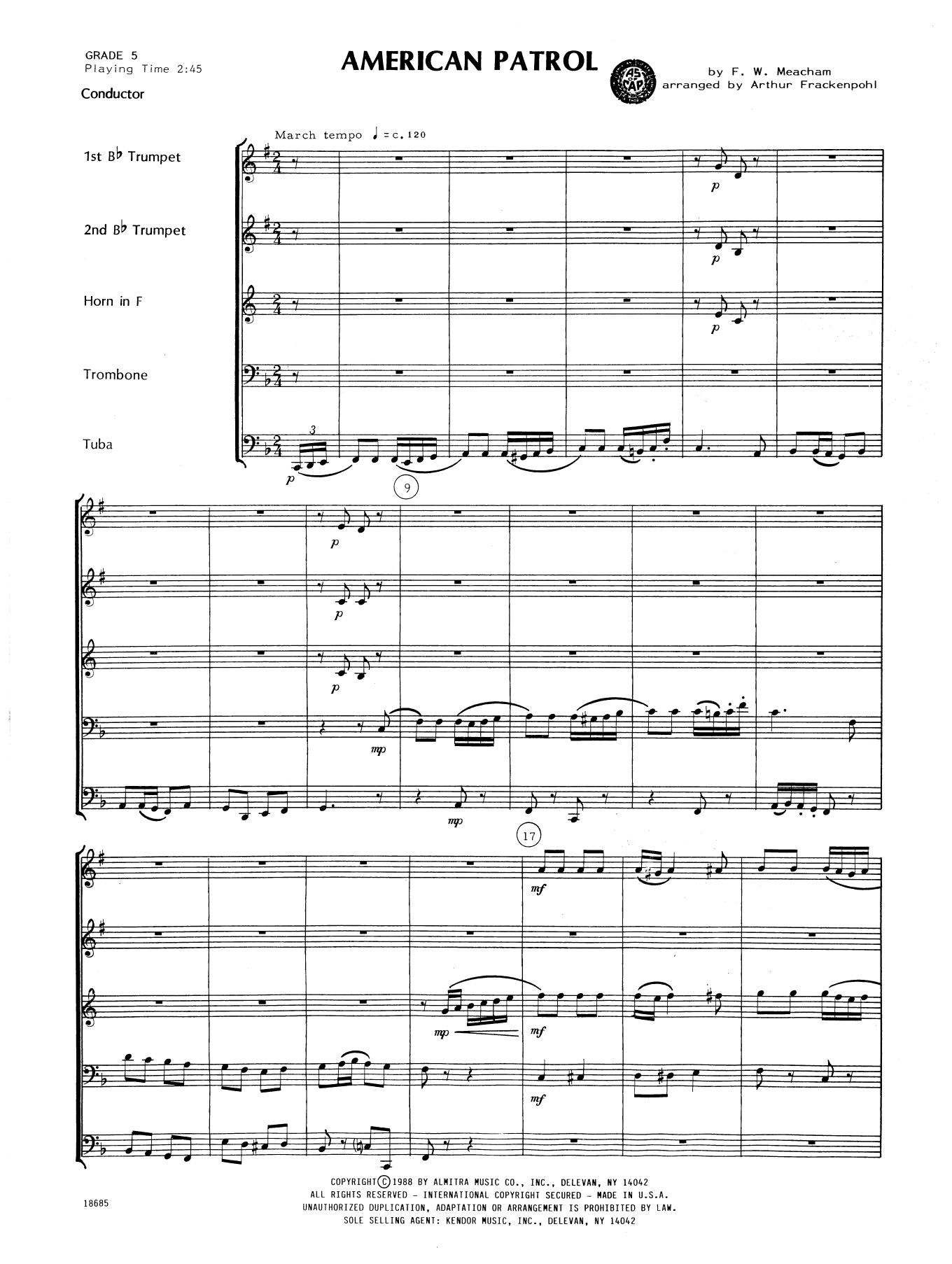 American Patrol (COMPLETE) sheet music for brass quintet by F.W. Meacham and Arthur Frackenpohl. Score Image Preview.