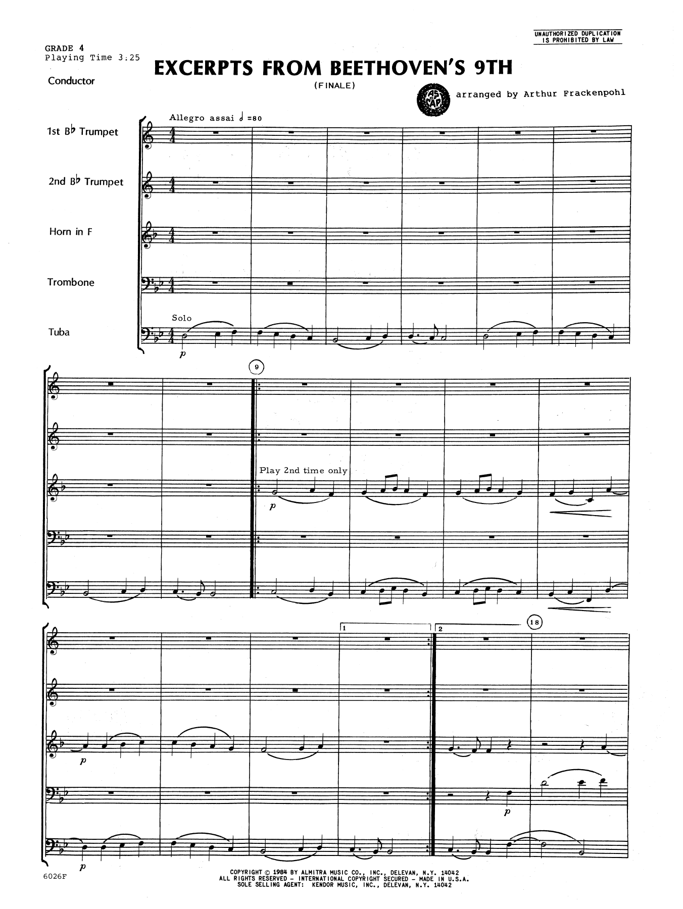 Excerpts From Beethoven's 9th (COMPLETE) sheet music for brass quintet by Ludwig van Beethoven and Arthur Frackenpohl. Score Image Preview.