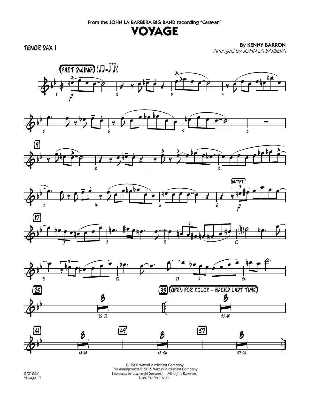 Voyage - Tenor Sax 1 (Jazz Ensemble)
