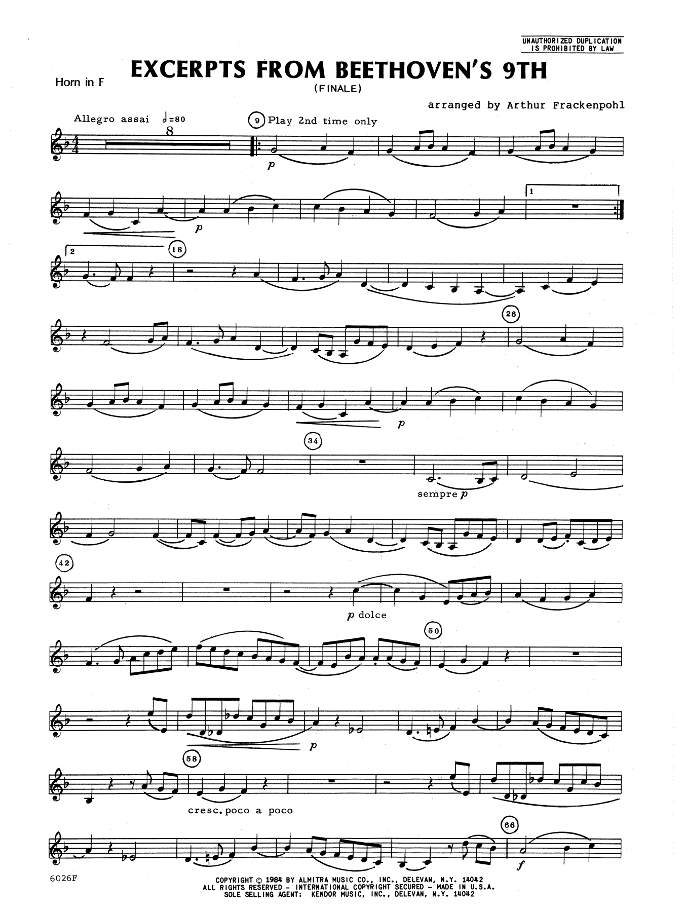 Excerpts From Beethoven's 9th - Horn in F Sheet Music