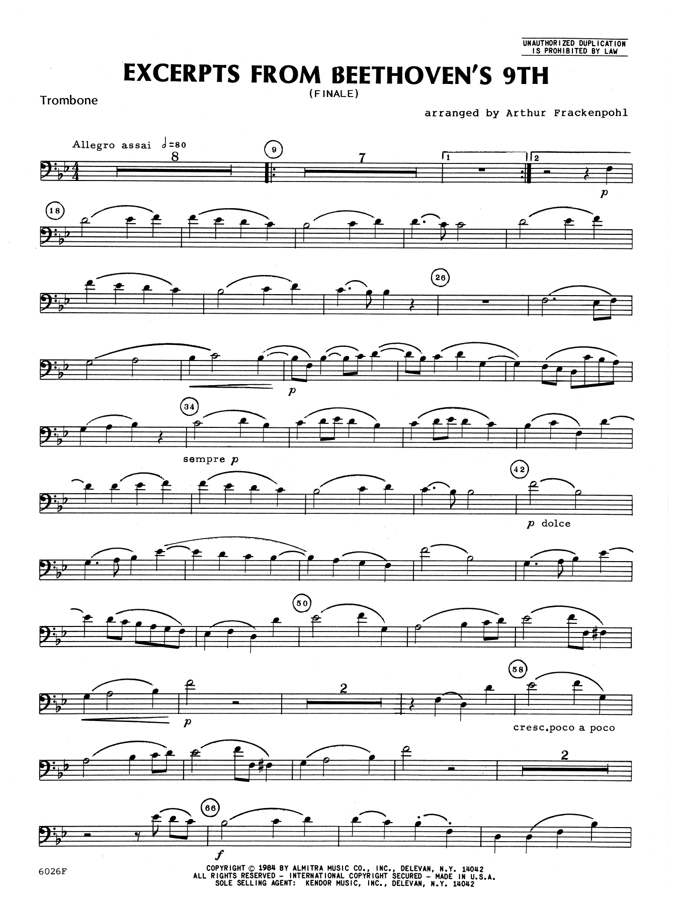 Excerpts From Beethoven's 9th - Trombone Sheet Music