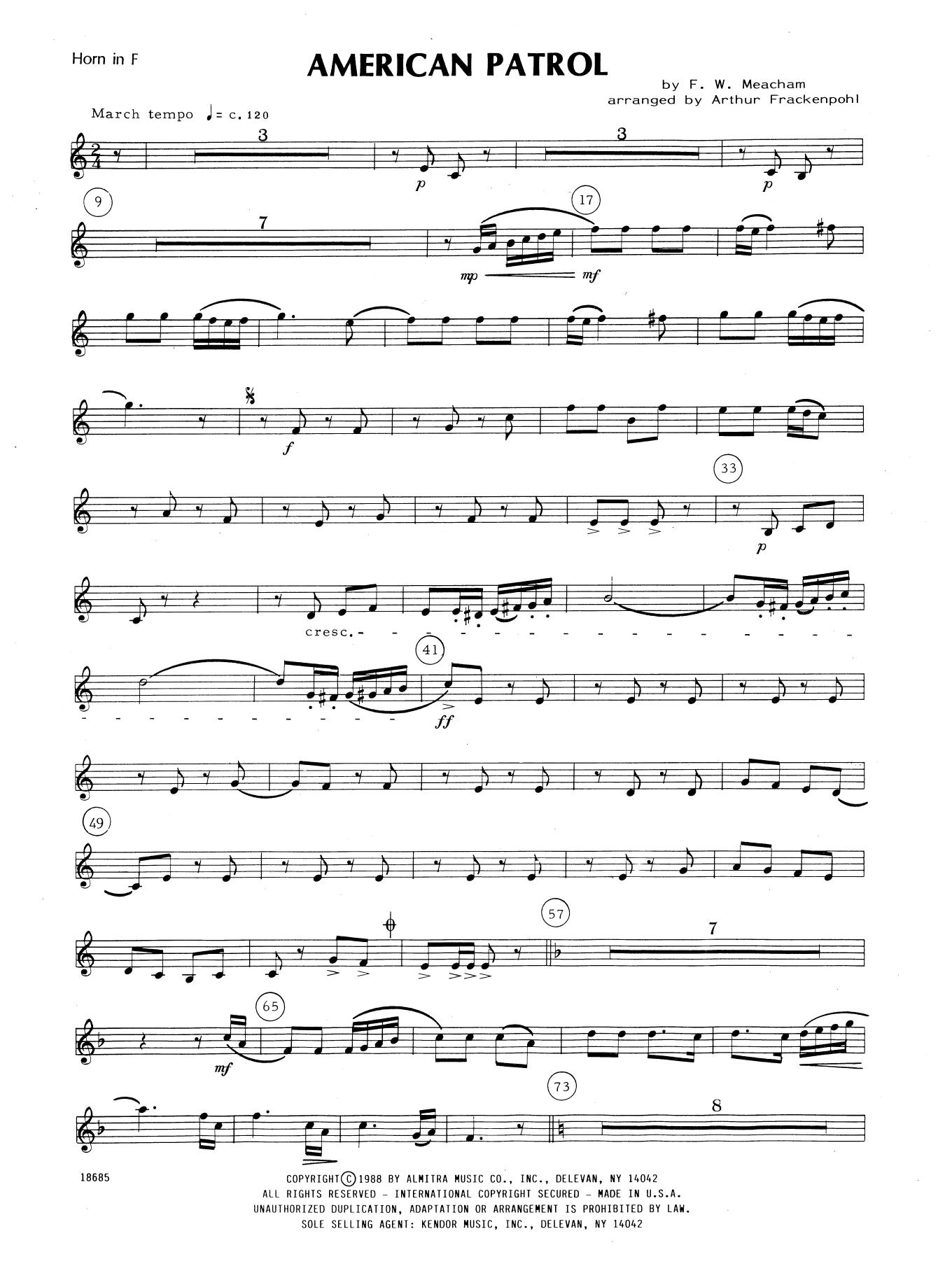 American Patrol - Horn in F Sheet Music